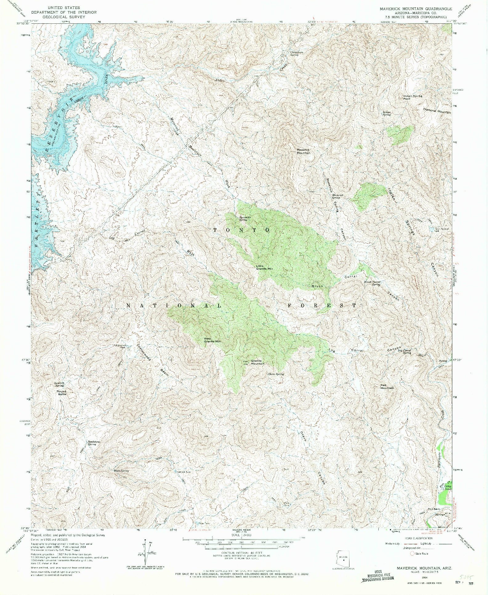USGS 1:24000-SCALE QUADRANGLE FOR MAVERICK MOUNTAIN, AZ 1964