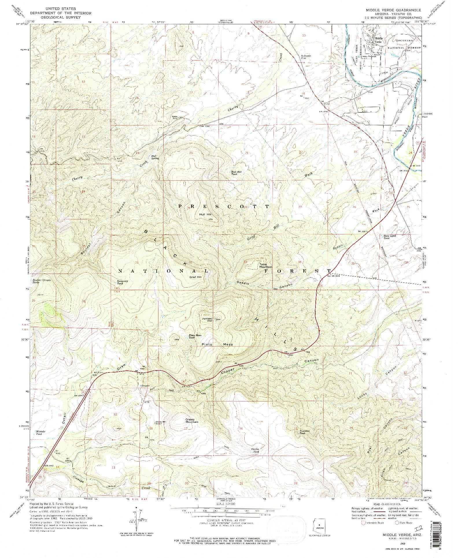 USGS 1:24000-SCALE QUADRANGLE FOR MIDDLE VERDE, AZ 1969