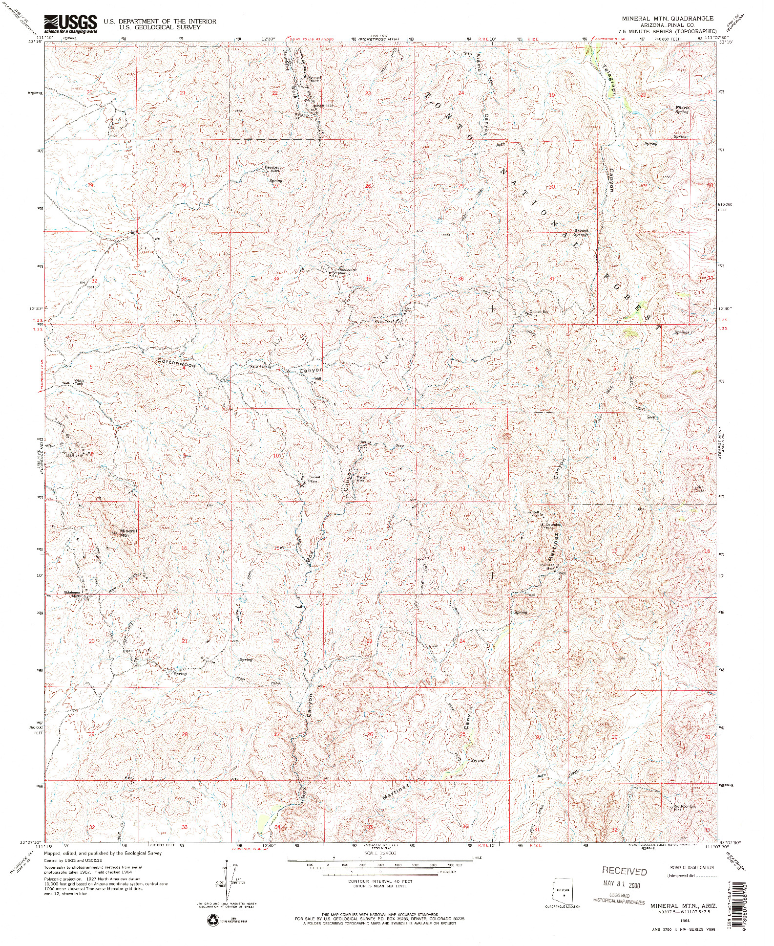 USGS 1:24000-SCALE QUADRANGLE FOR MINERAL MTN, AZ 1964