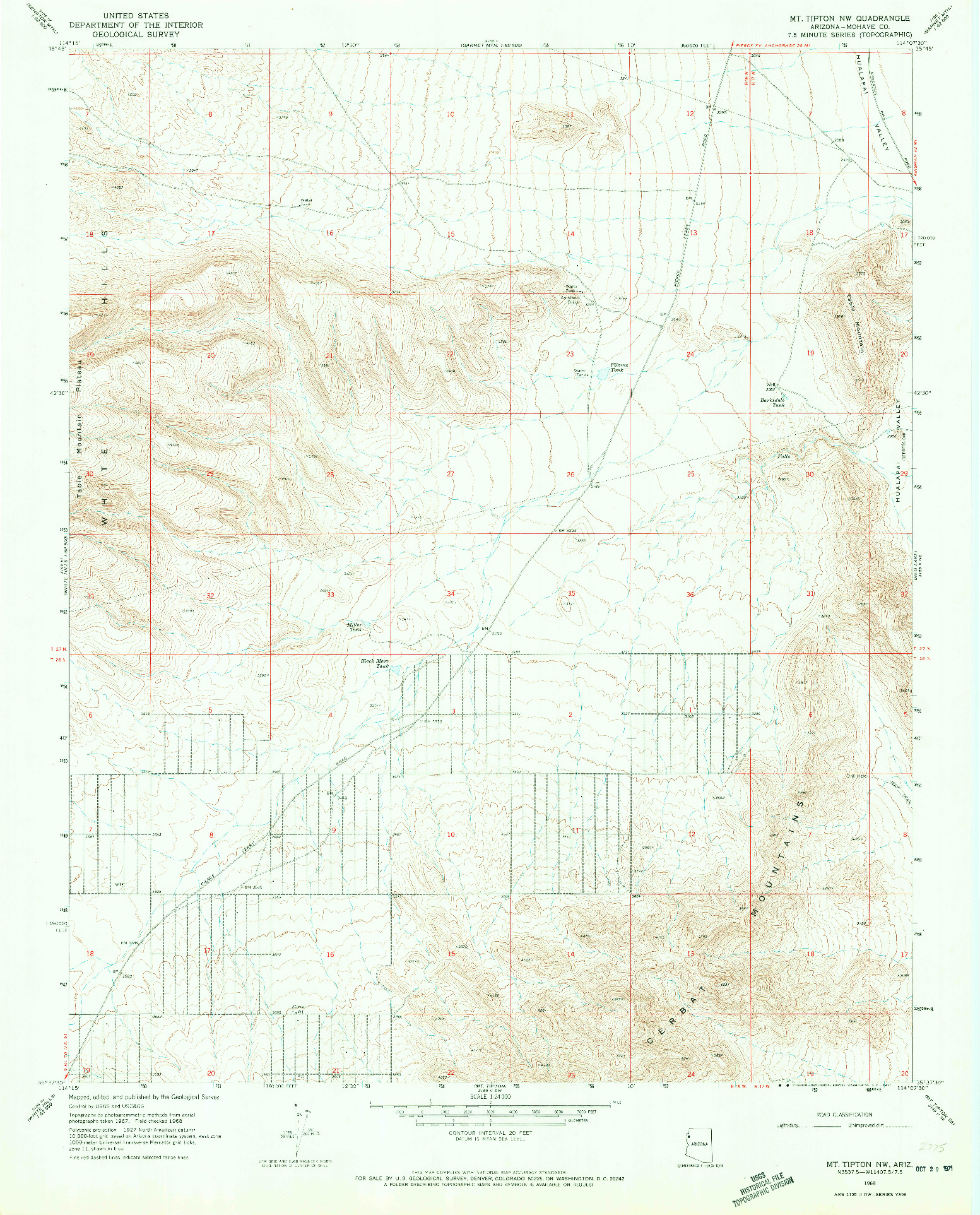 USGS 1:24000-SCALE QUADRANGLE FOR MT. TIPTON NW, AZ 1968