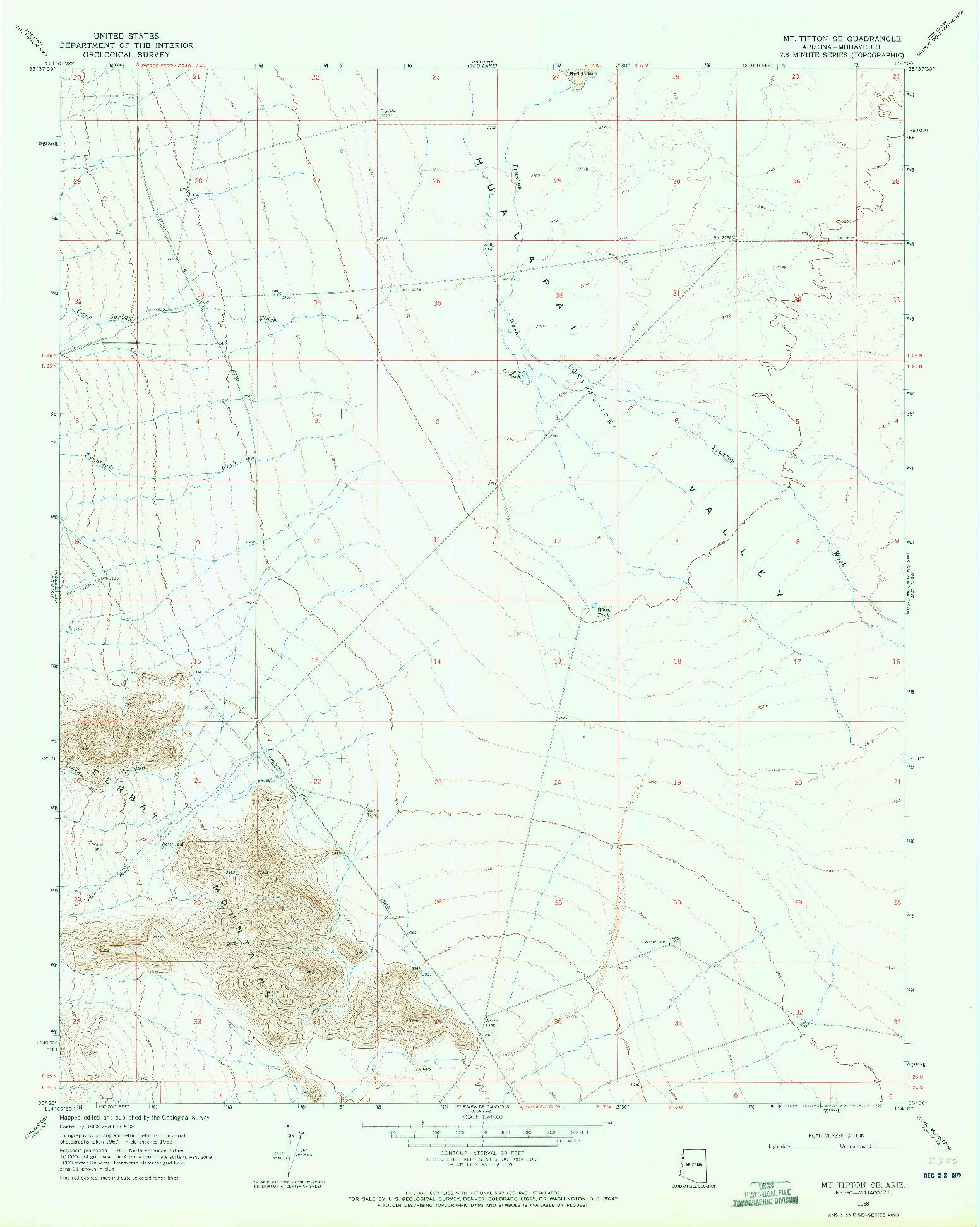 USGS 1:24000-SCALE QUADRANGLE FOR MT. TIPTON SE, AZ 1968