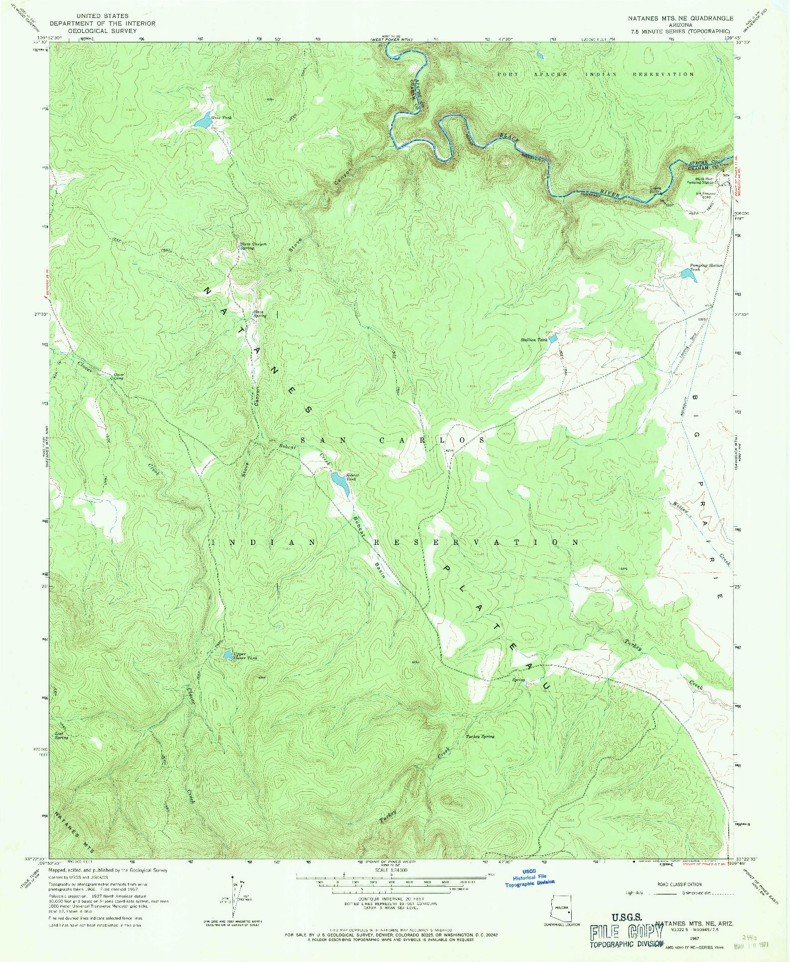 USGS 1:24000-SCALE QUADRANGLE FOR NATANES MTS NE, AZ 1967