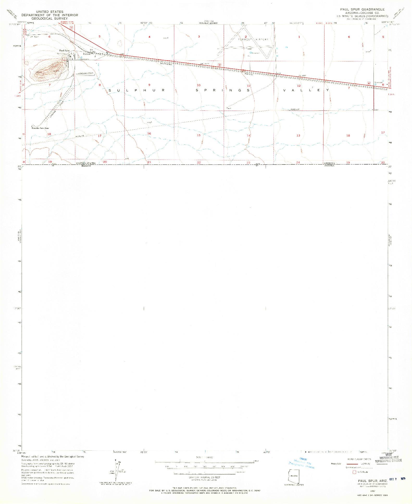 USGS 1:24000-SCALE QUADRANGLE FOR PAUL SPUR, AZ 1957
