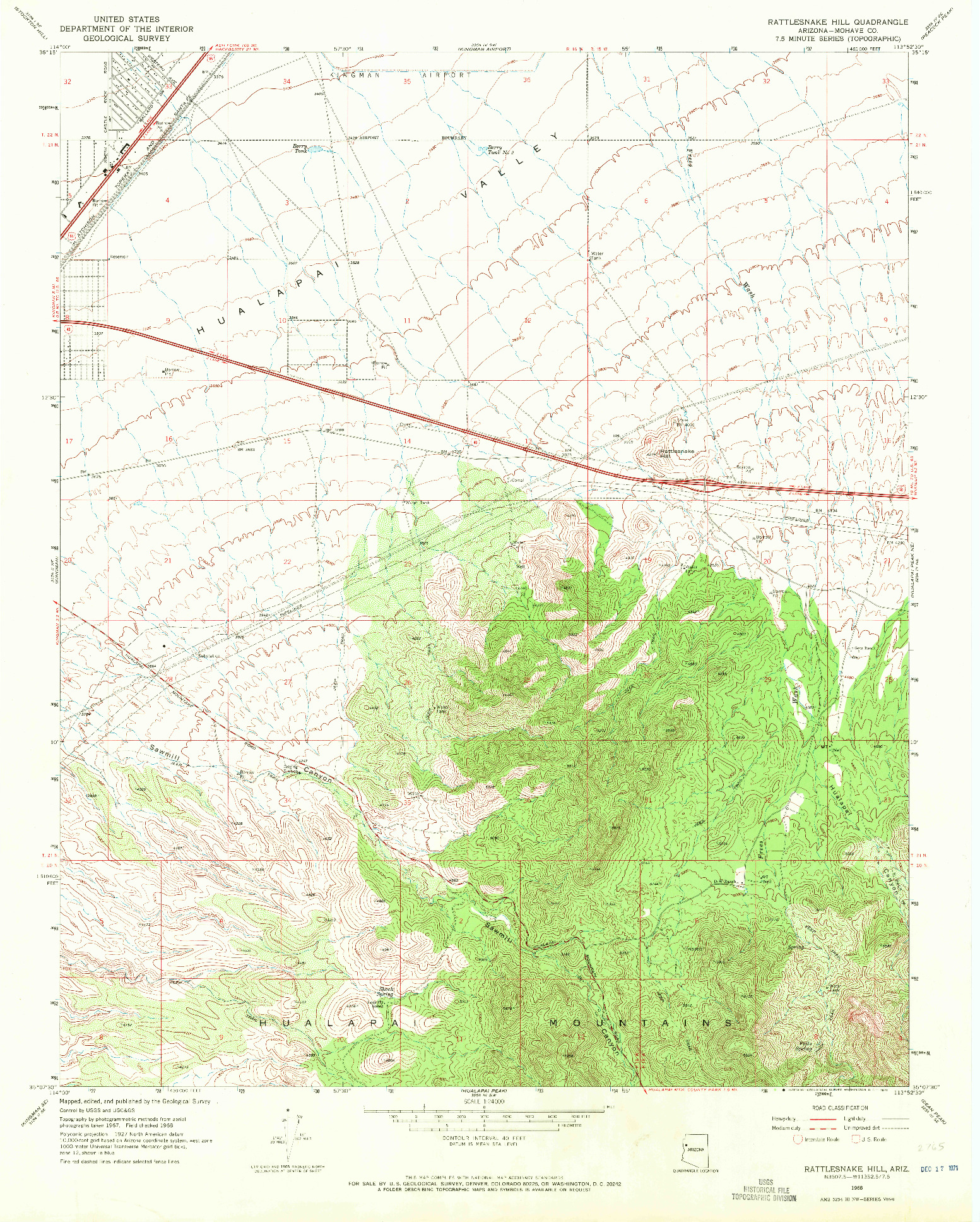 USGS 1:24000-SCALE QUADRANGLE FOR RATTLESNAKE HILL, AZ 1968