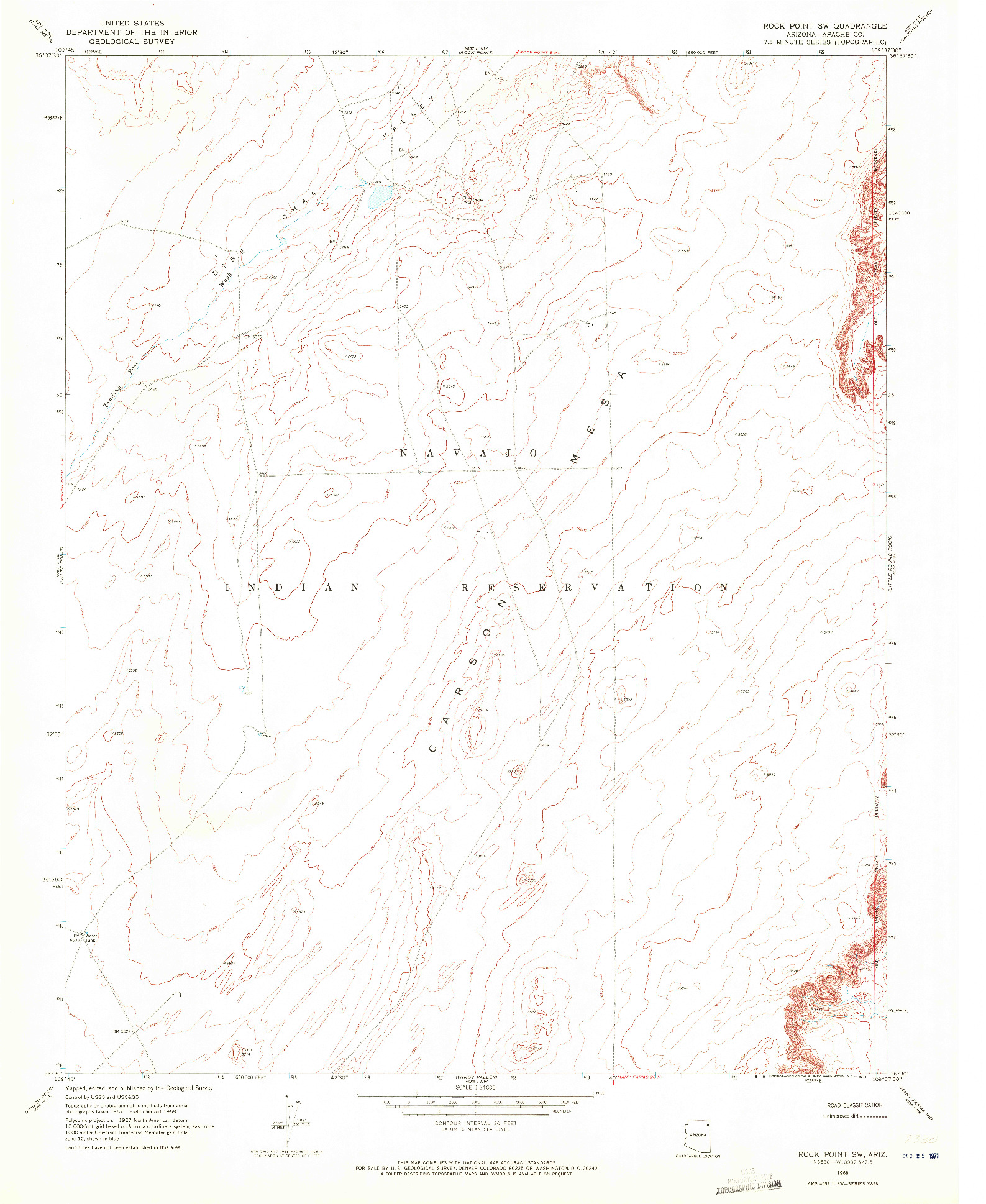 USGS 1:24000-SCALE QUADRANGLE FOR ROCK POINT SW, AZ 1968