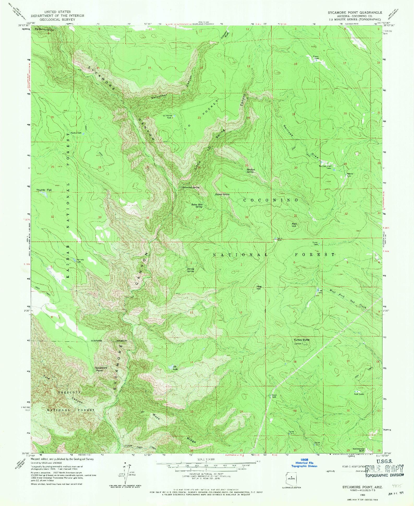 USGS 1:24000-SCALE QUADRANGLE FOR SYCAMORE POINT, AZ 1963