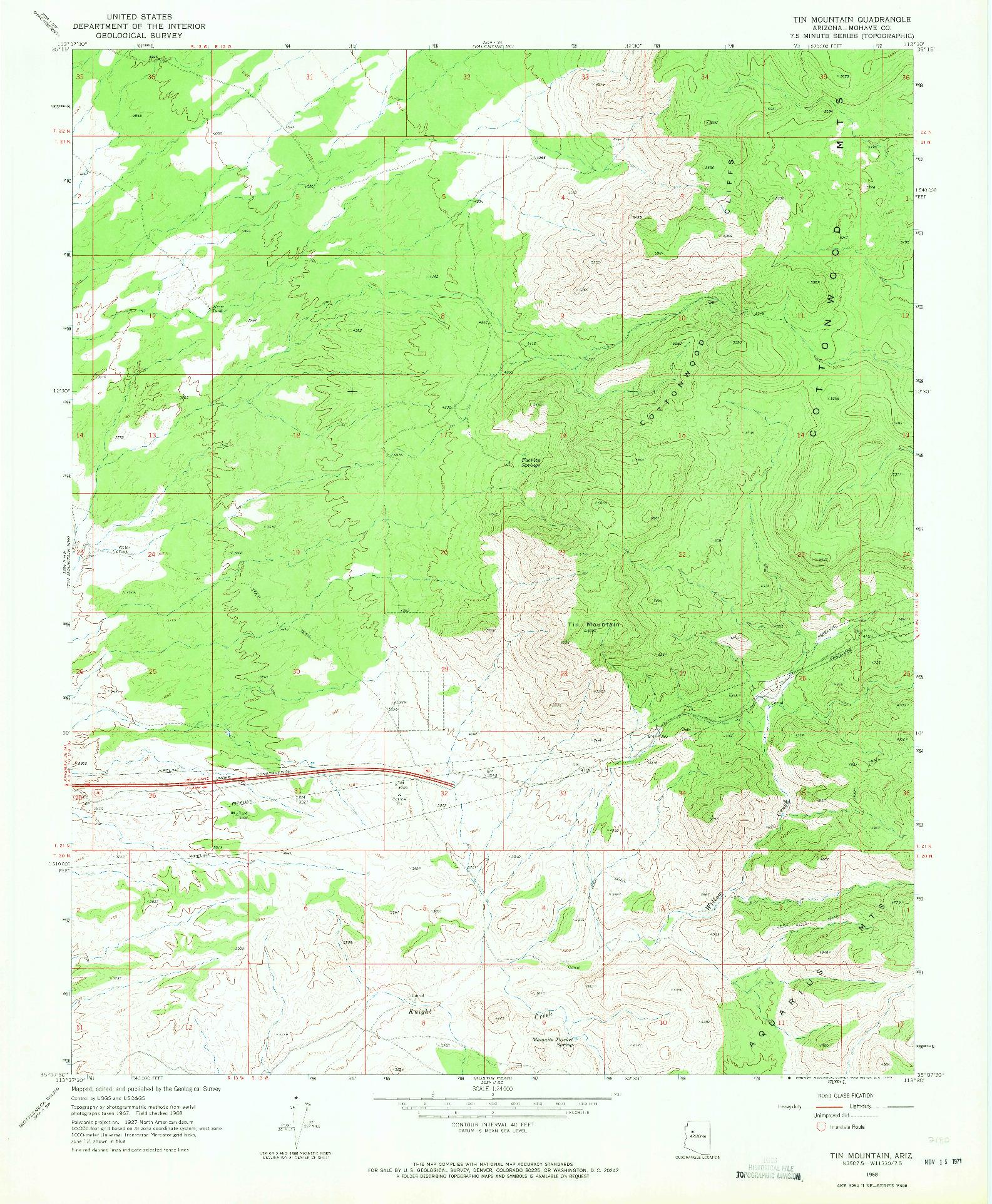USGS 1:24000-SCALE QUADRANGLE FOR TIN MOUNTAIN, AZ 1968