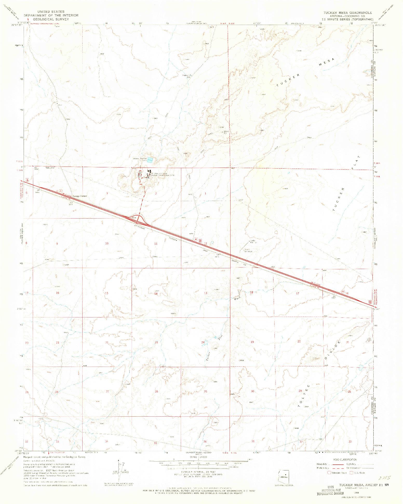 USGS 1:24000-SCALE QUADRANGLE FOR TUCKER MESA, AZ 1968