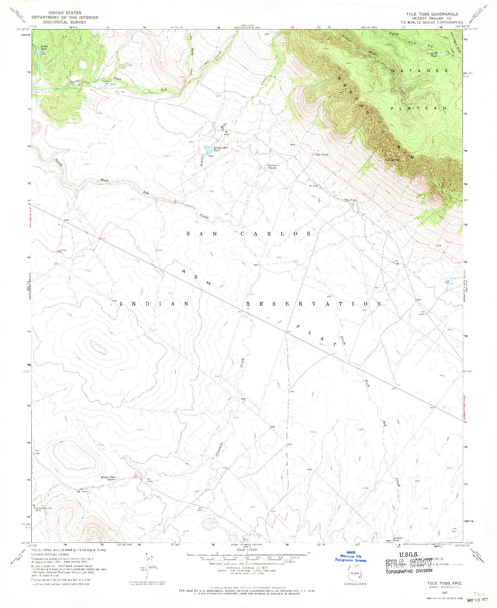 USGS 1:24000-SCALE QUADRANGLE FOR TULE TUBS, AZ 1967