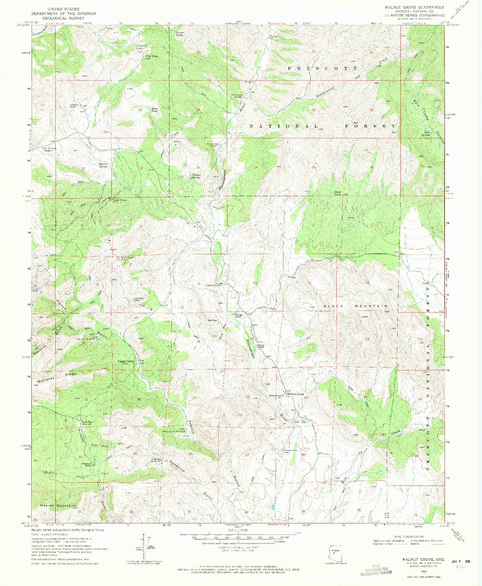 USGS 1:24000-SCALE QUADRANGLE FOR WALNUT GROVE, AZ 1969