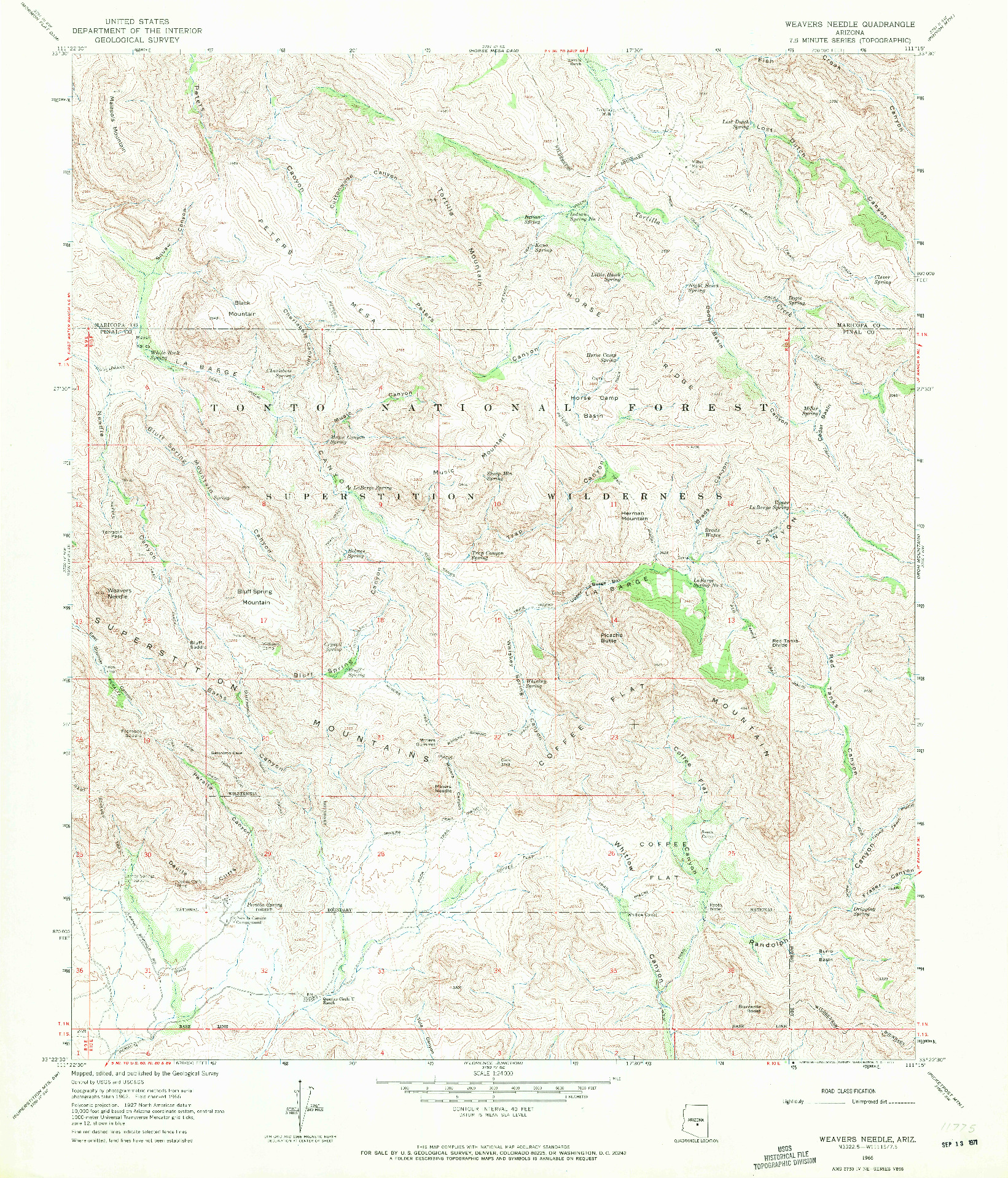 USGS 1:24000-SCALE QUADRANGLE FOR WEAVERS NEEDLE, AZ 1966