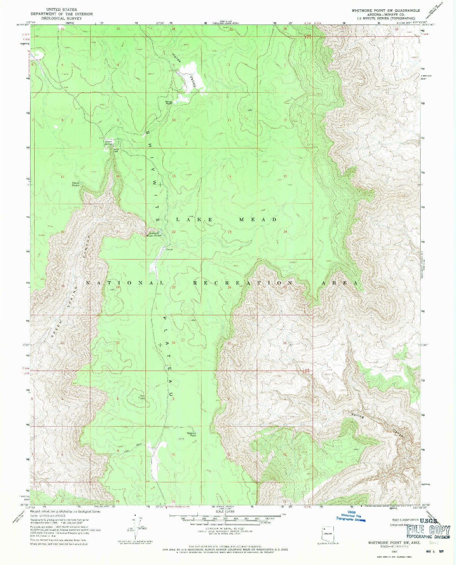 USGS 1:24000-SCALE QUADRANGLE FOR WHITMORE POINT SW, AZ 1967