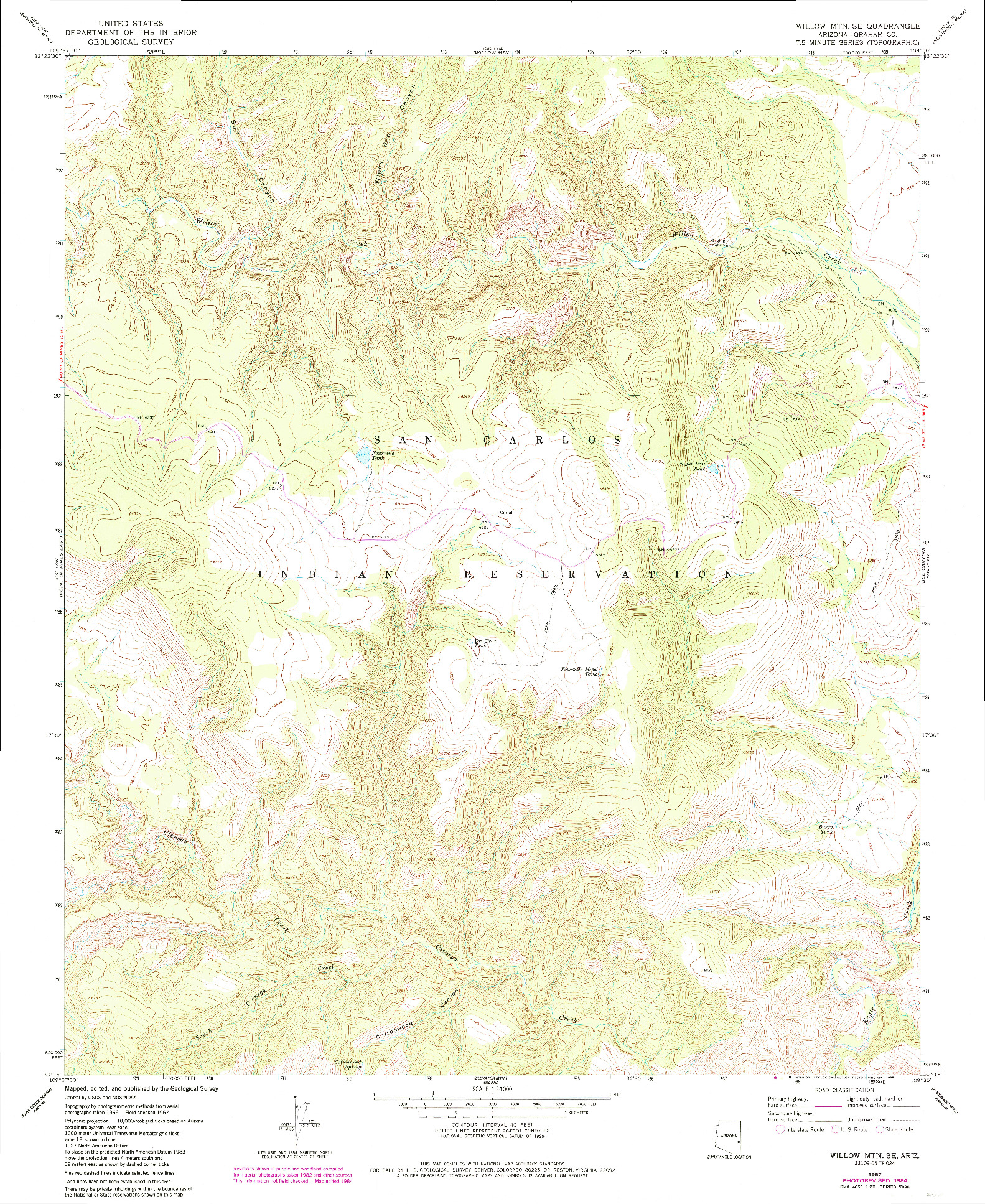 USGS 1:24000-SCALE QUADRANGLE FOR WILLOW MTN. SE, AZ 1967