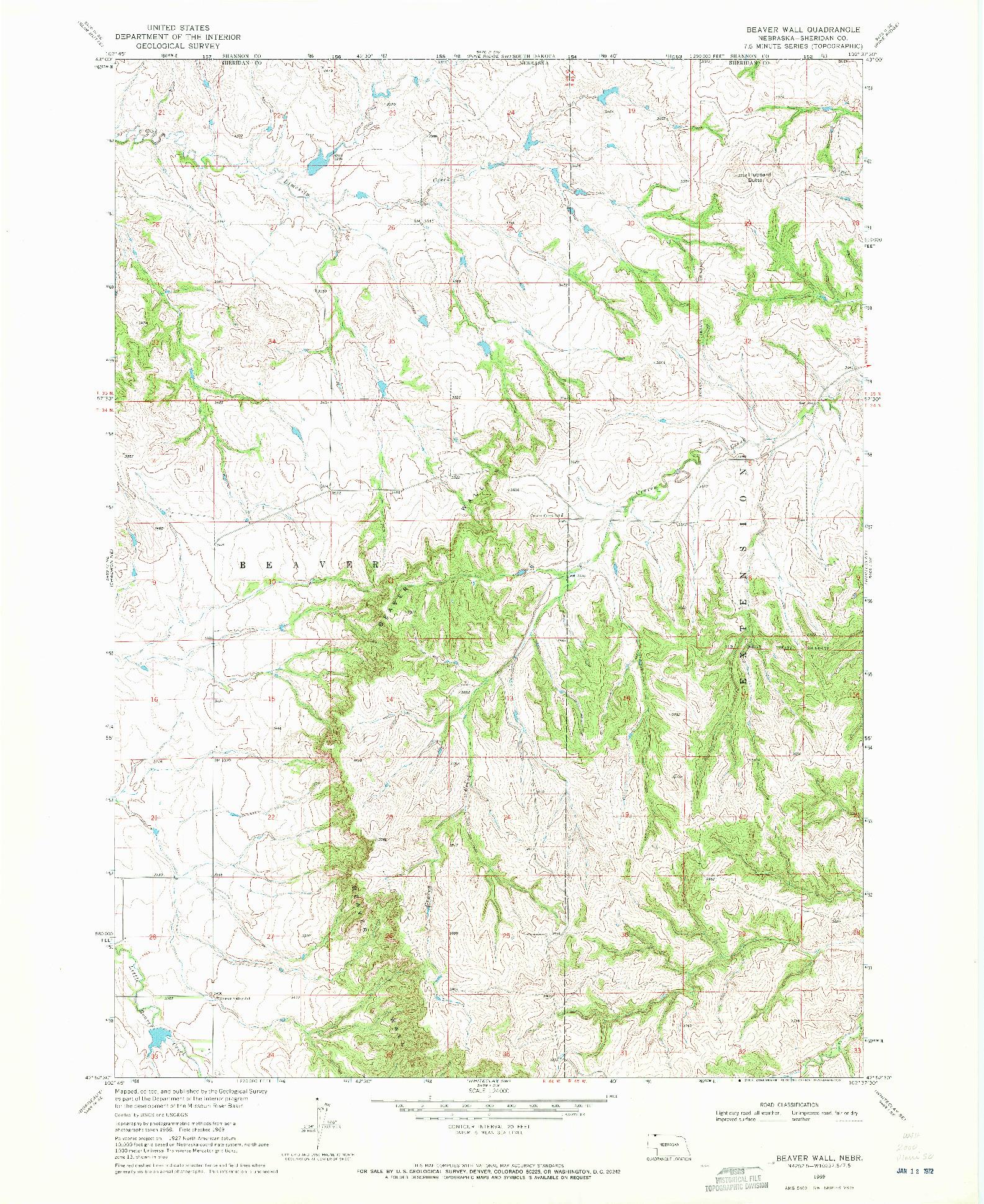 USGS 1:24000-SCALE QUADRANGLE FOR BEAVER WALL, NE 1969