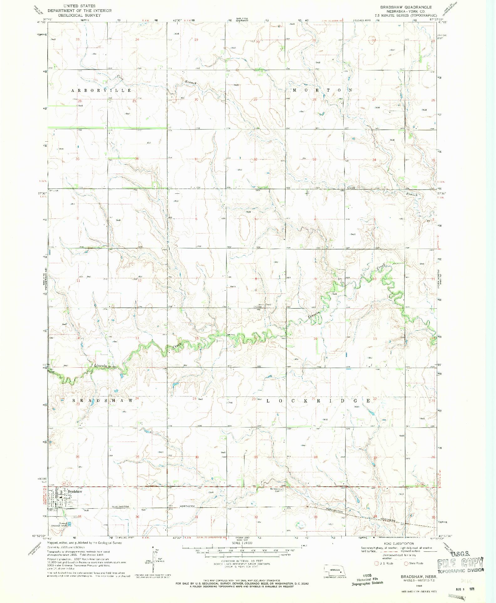 USGS 1:24000-SCALE QUADRANGLE FOR BRADSHAW, NE 1969