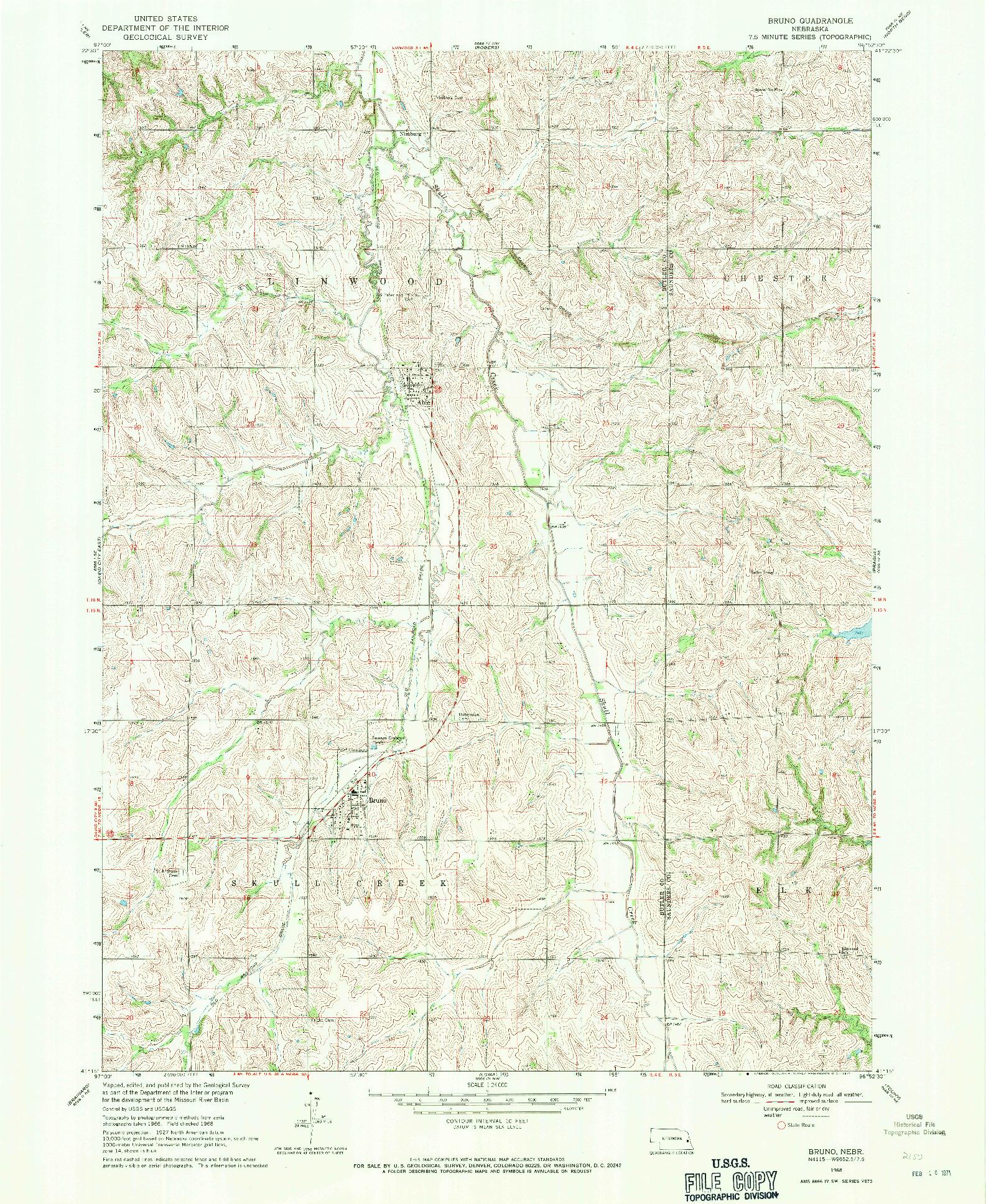 USGS 1:24000-SCALE QUADRANGLE FOR BRUNO, NE 1968