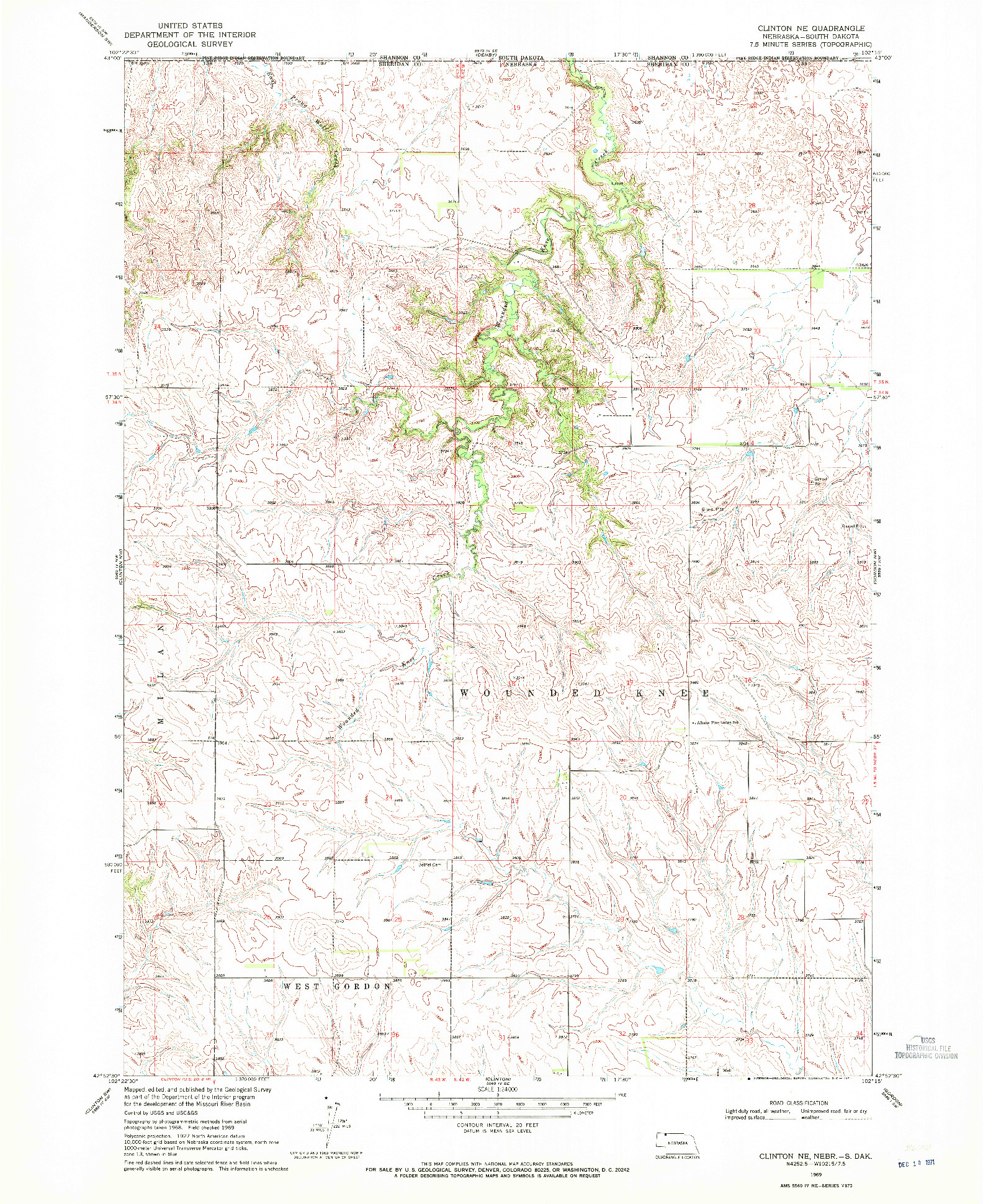 USGS 1:24000-SCALE QUADRANGLE FOR CLINTON NE, NE 1969