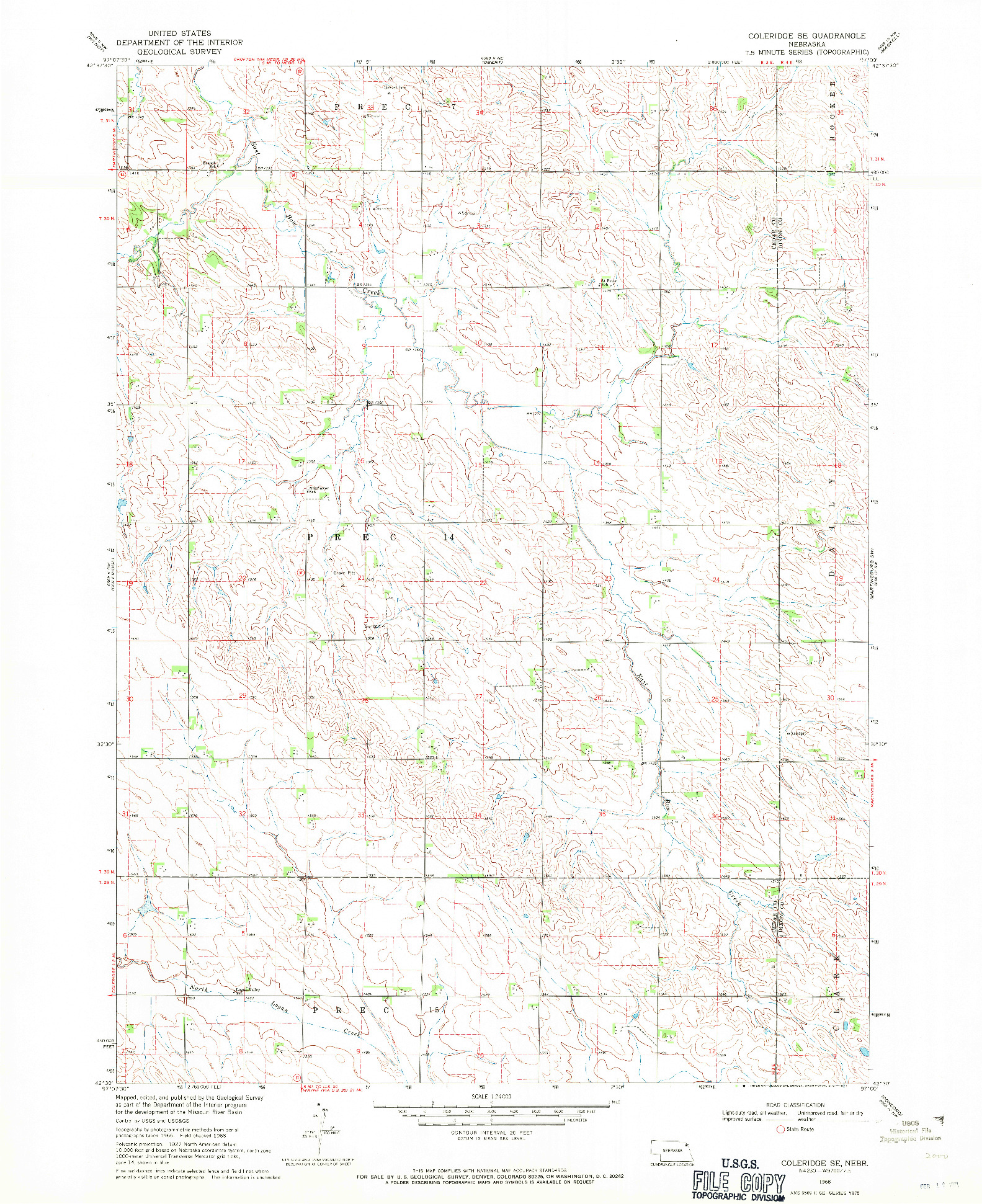 USGS 1:24000-SCALE QUADRANGLE FOR COLERIDGE SE, NE 1968