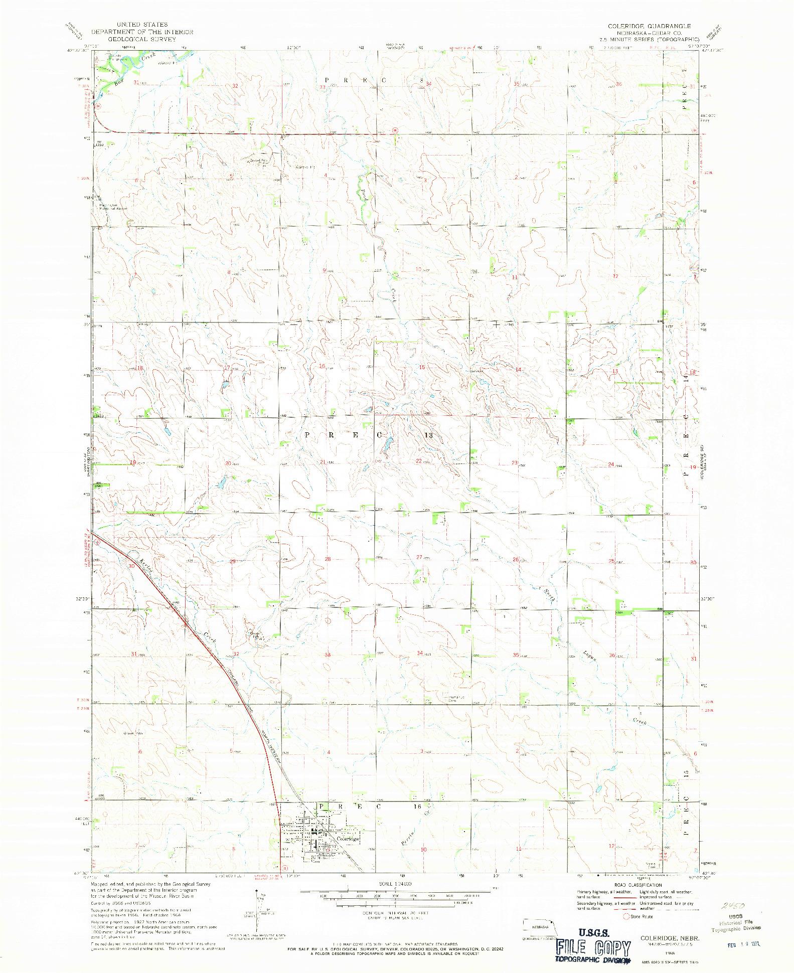 USGS 1:24000-SCALE QUADRANGLE FOR COLERIDGE, NE 1968