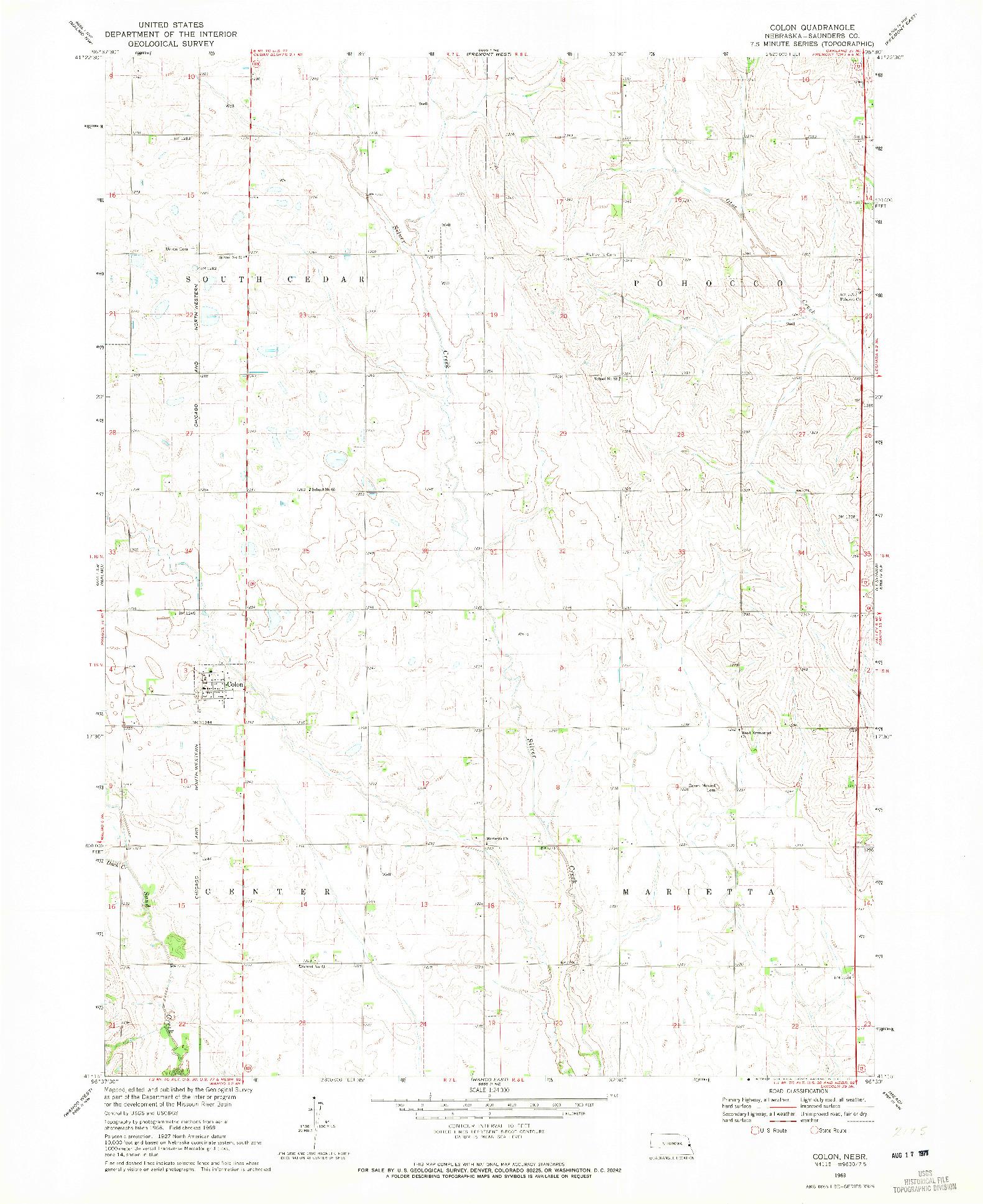 USGS 1:24000-SCALE QUADRANGLE FOR COLON, NE 1969