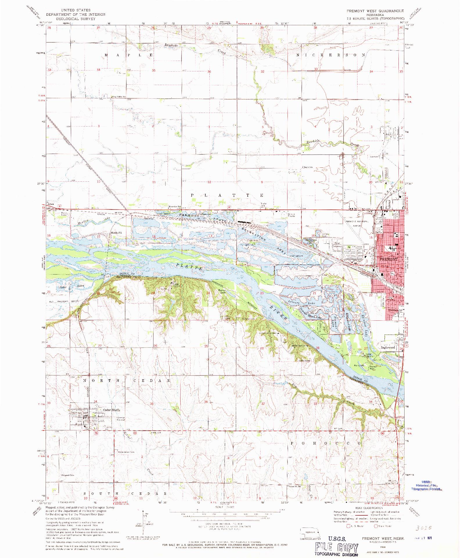 USGS 1:24000-SCALE QUADRANGLE FOR FREMONT WEST, NE 1968