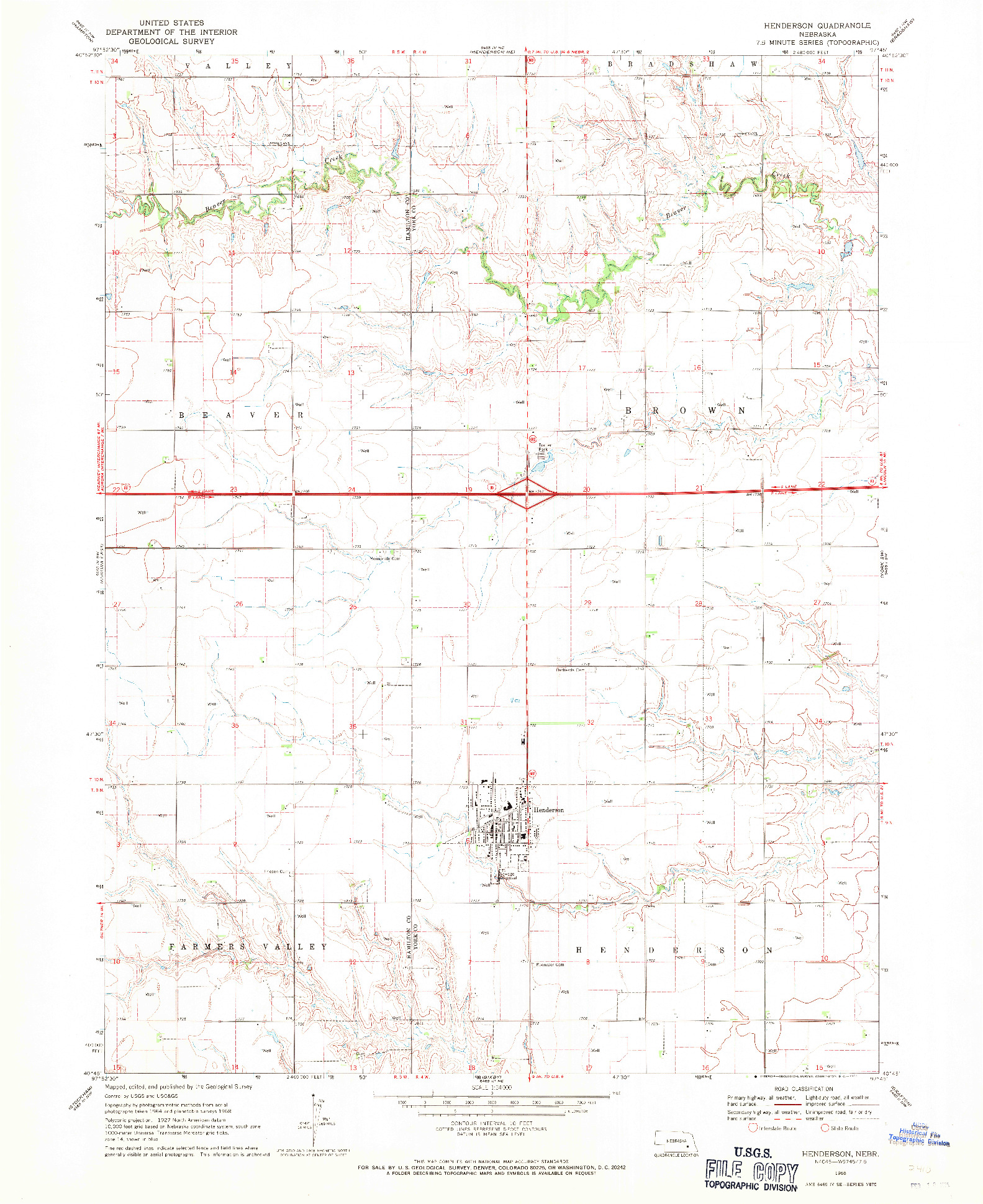 USGS 1:24000-SCALE QUADRANGLE FOR HENDERSON, NE 1968