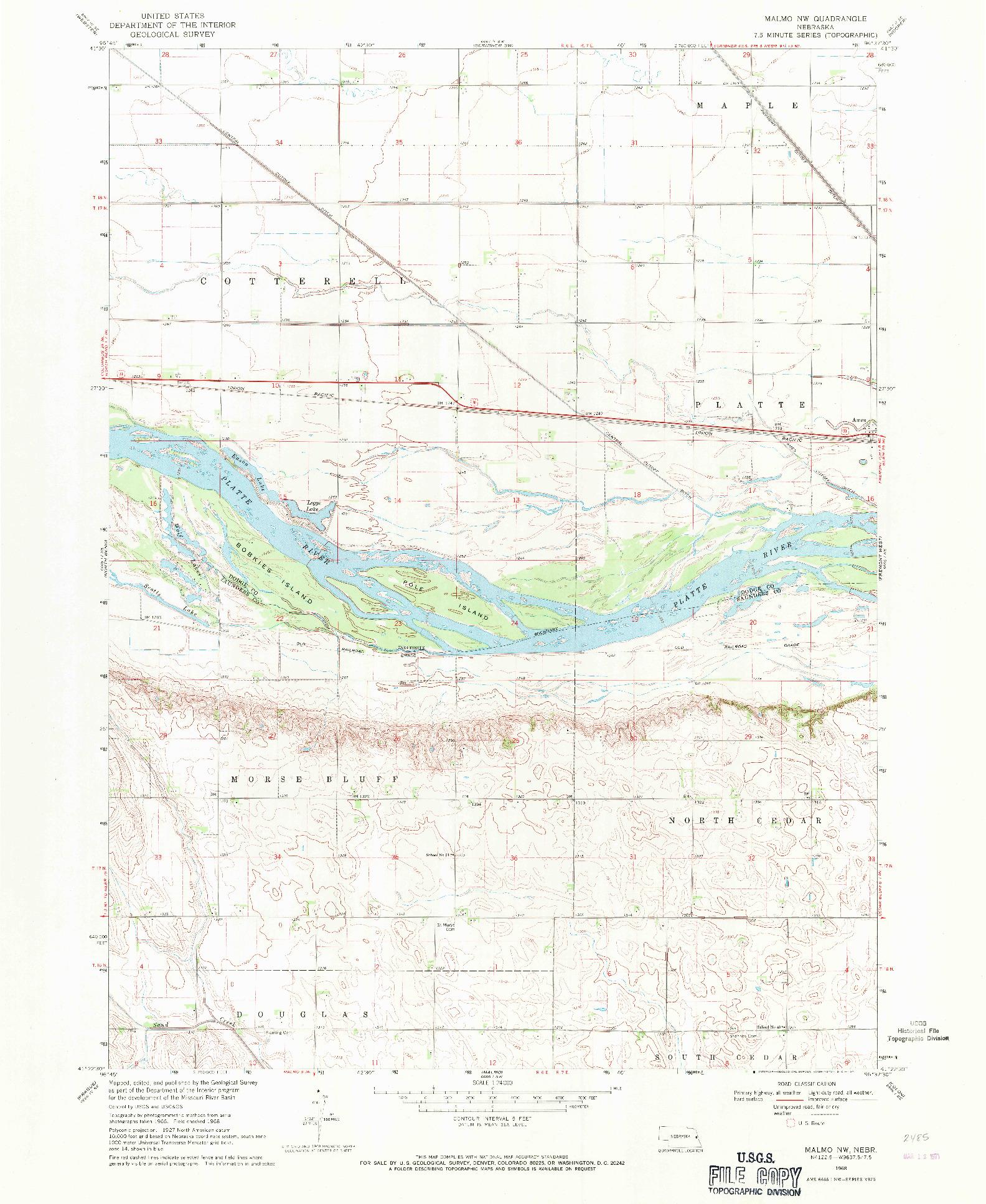 USGS 1:24000-SCALE QUADRANGLE FOR MALMO NW, NE 1968