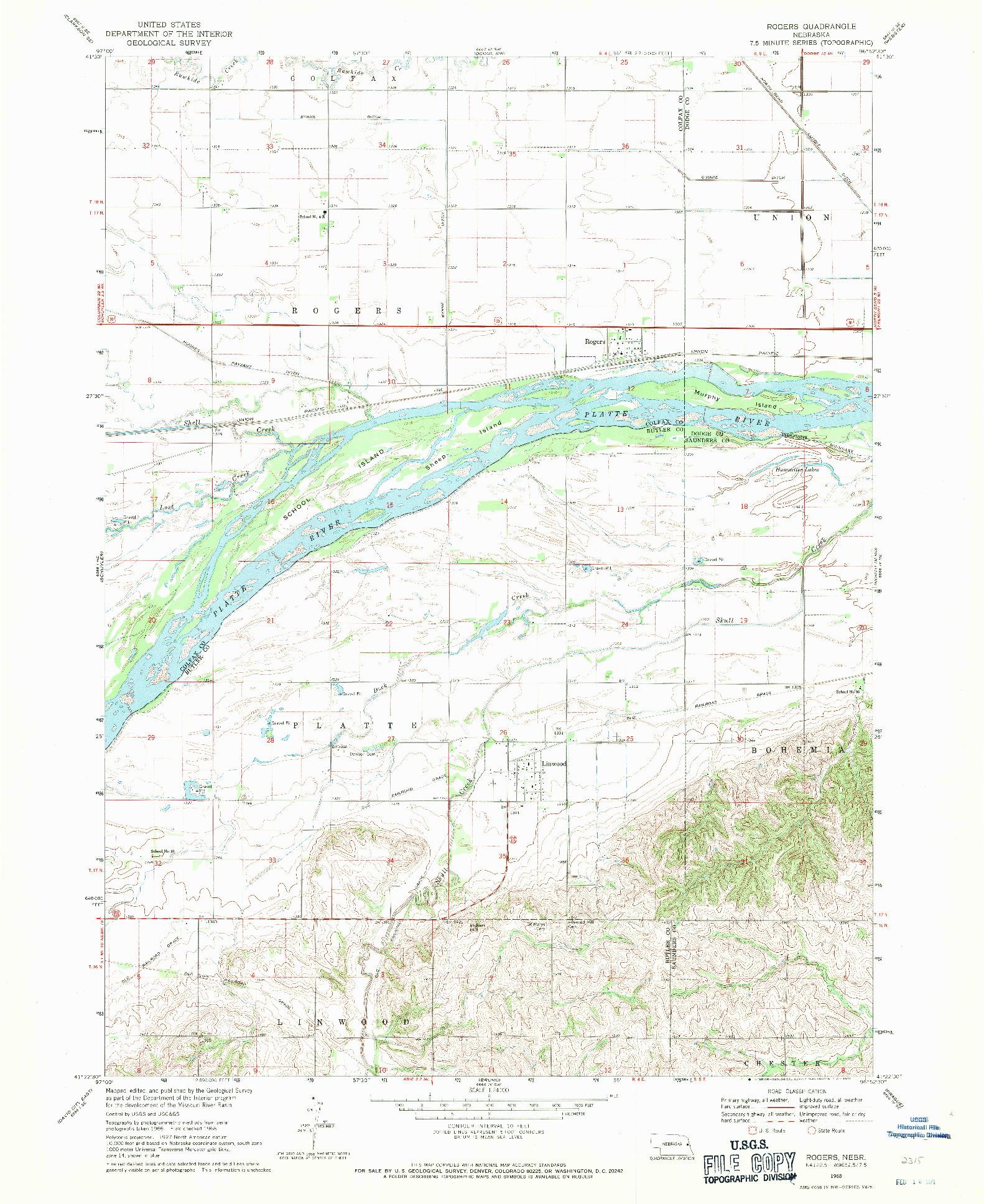 USGS 1:24000-SCALE QUADRANGLE FOR ROGERS, NE 1968