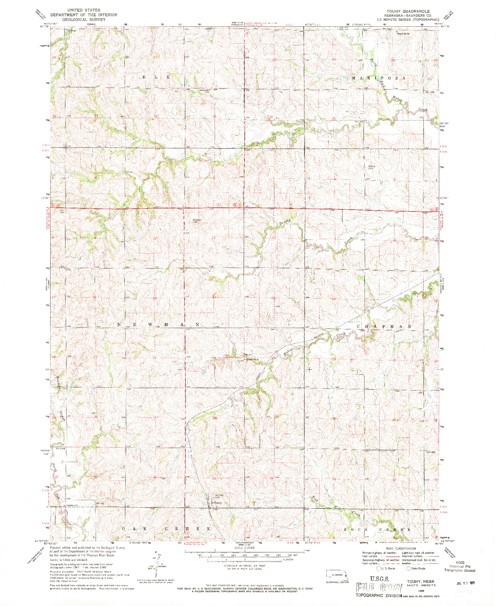 USGS 1:24000-SCALE QUADRANGLE FOR TOUHY, NE 1969