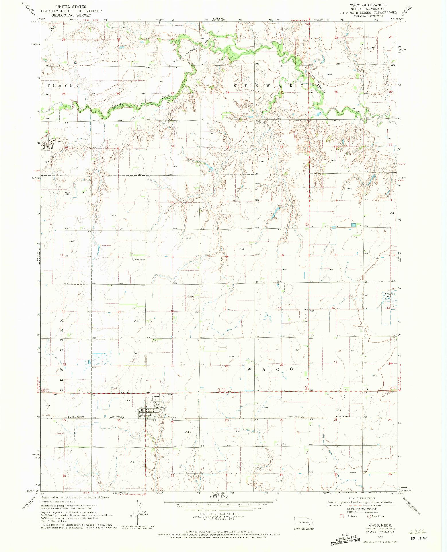USGS 1:24000-SCALE QUADRANGLE FOR WACO, NE 1969
