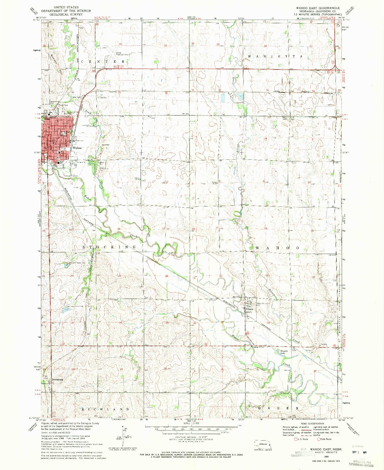 USGS 1:24000-SCALE QUADRANGLE FOR WAHOO EAST, NE 1969