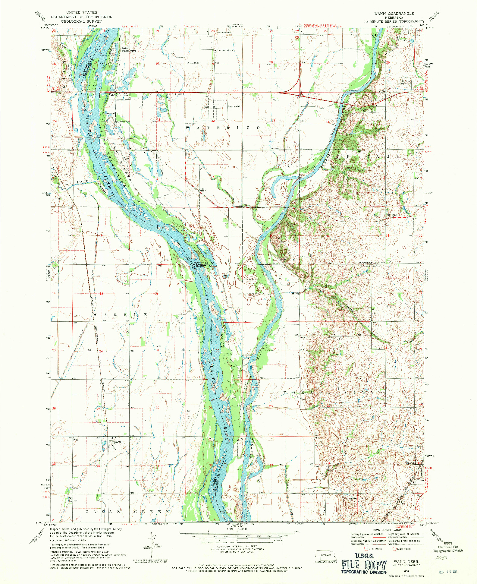 USGS 1:24000-SCALE QUADRANGLE FOR WANN, NE 1968