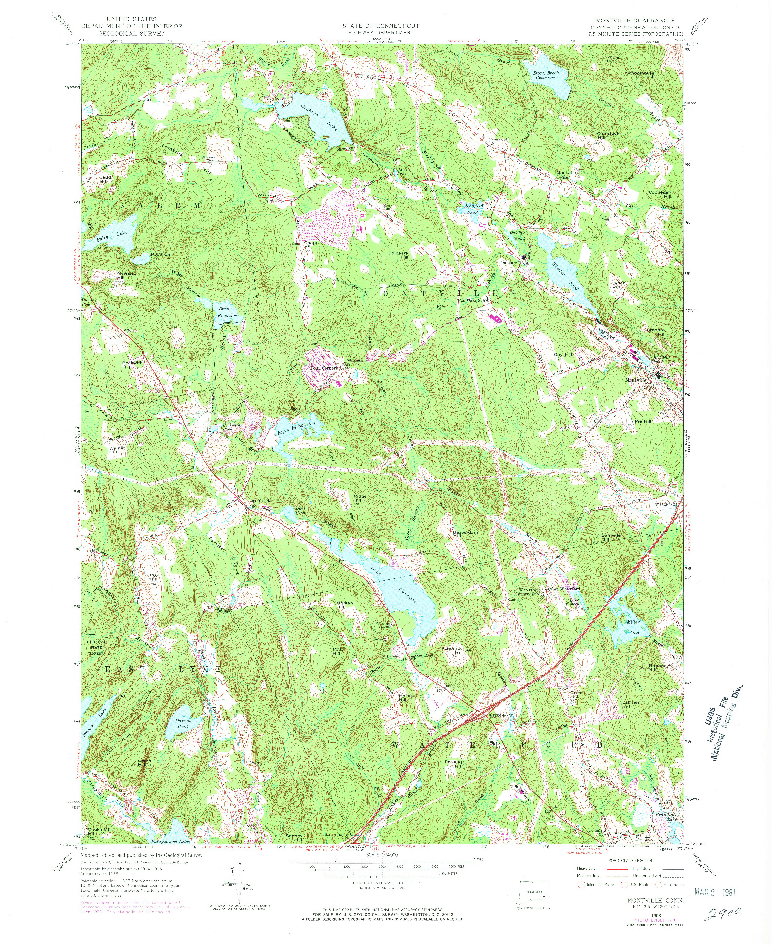USGS 1:24000-SCALE QUADRANGLE FOR MONTVILLE, CT 1958
