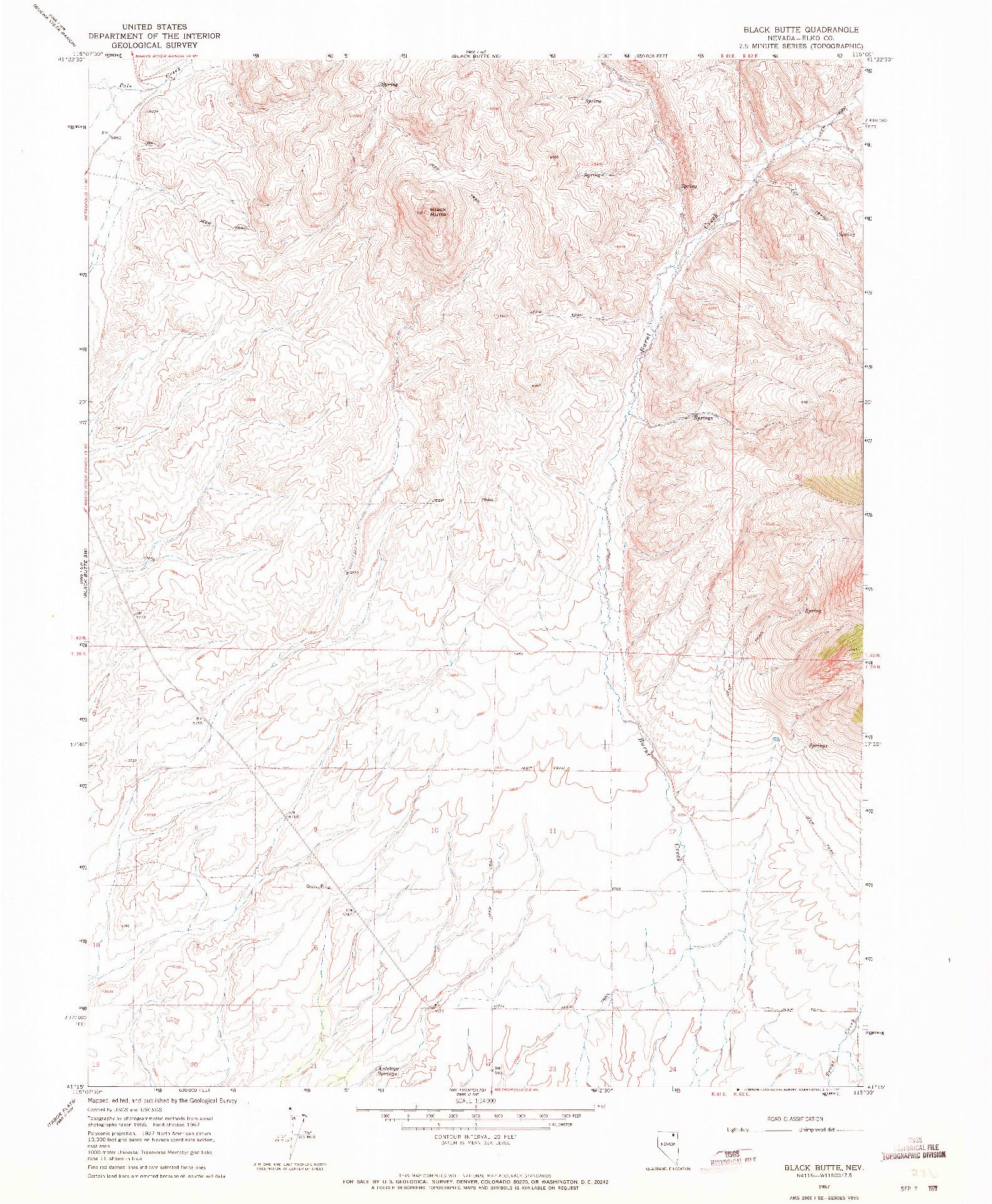 USGS 1:24000-SCALE QUADRANGLE FOR BLACK BUTTE, NV 1967