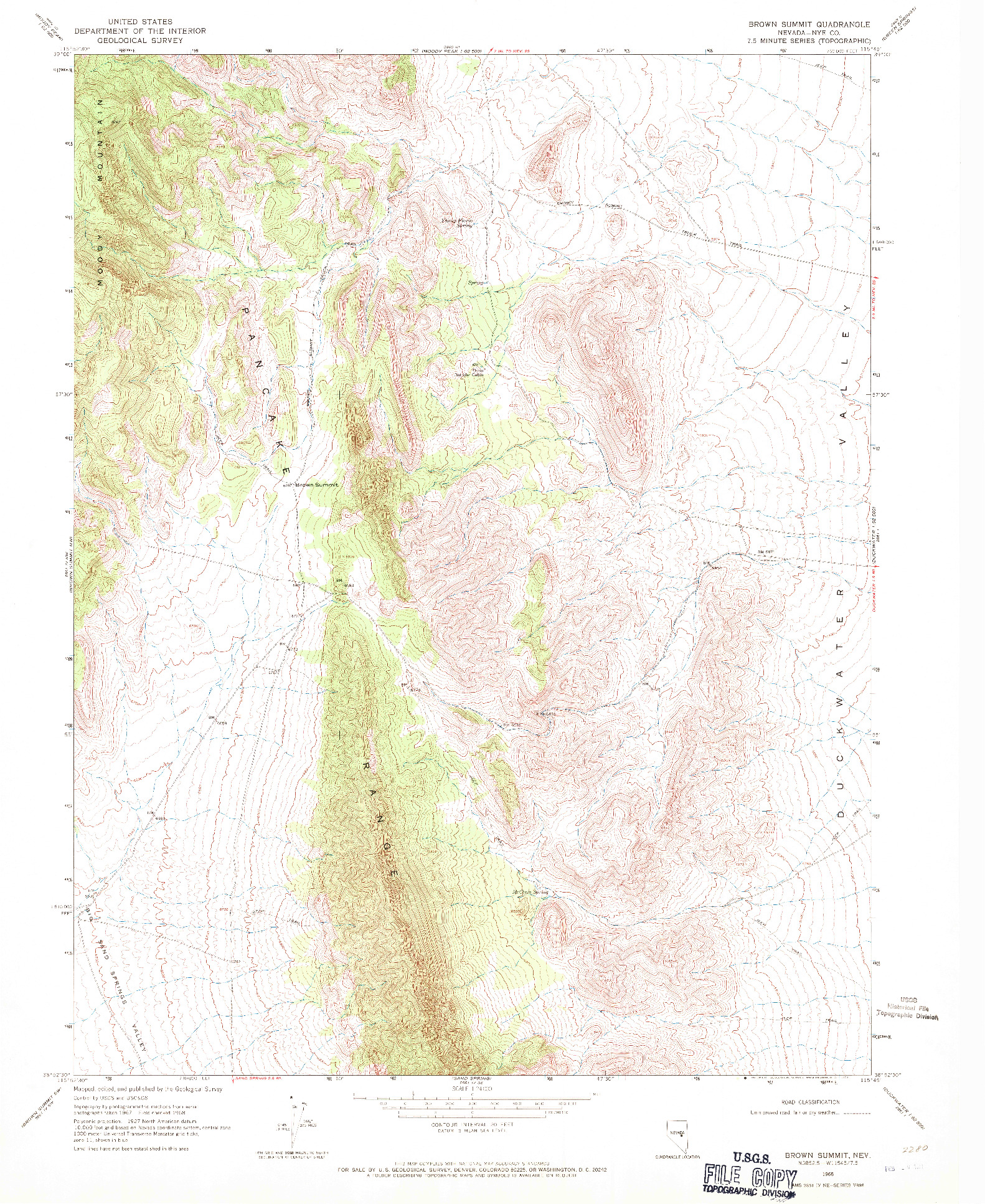 USGS 1:24000-SCALE QUADRANGLE FOR BROWN SUMMIT, NV 1968