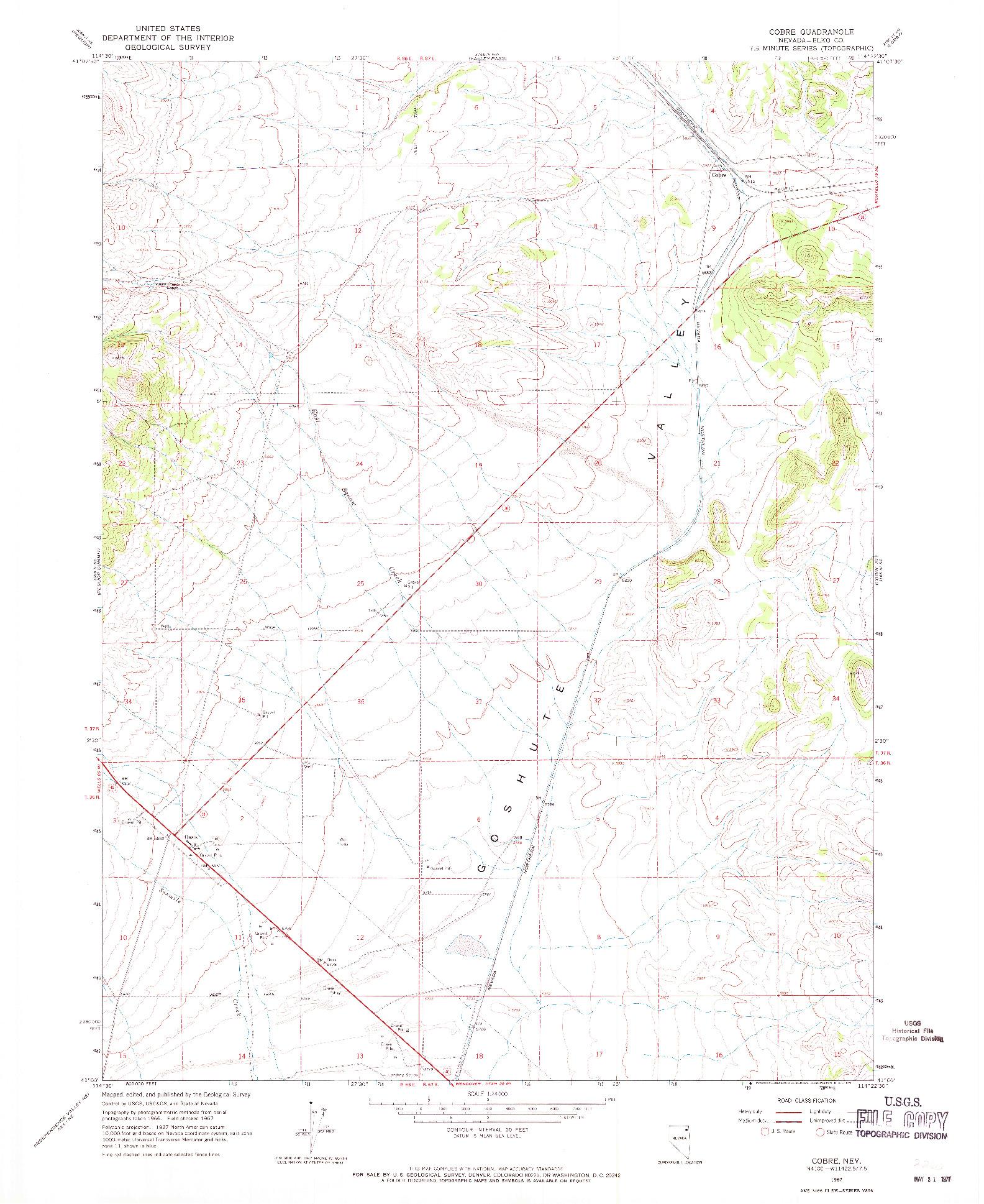 USGS 1:24000-SCALE QUADRANGLE FOR COBRE, NV 1967