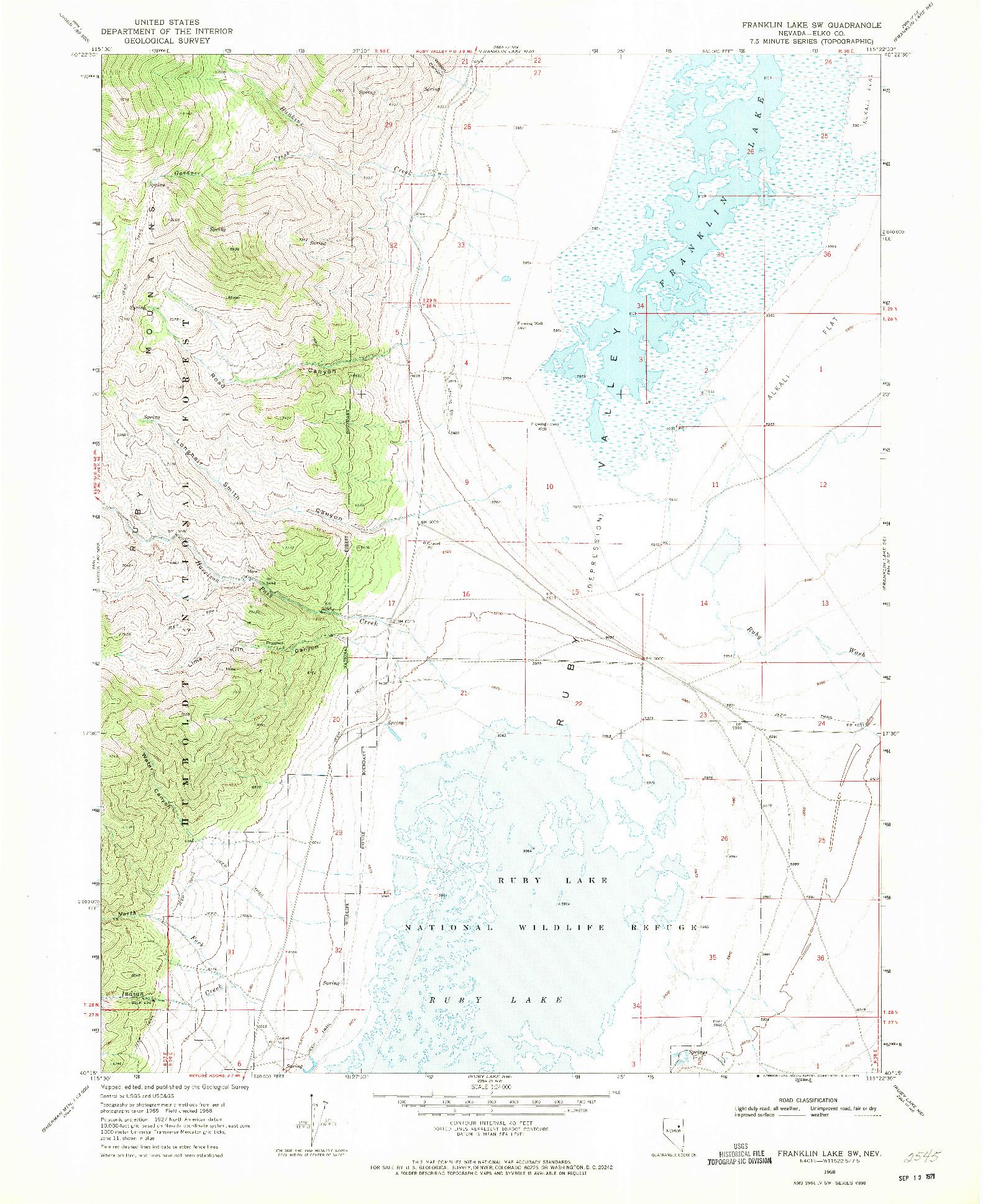 USGS 1:24000-SCALE QUADRANGLE FOR FRANKLIN LAKE SW, NV 1968