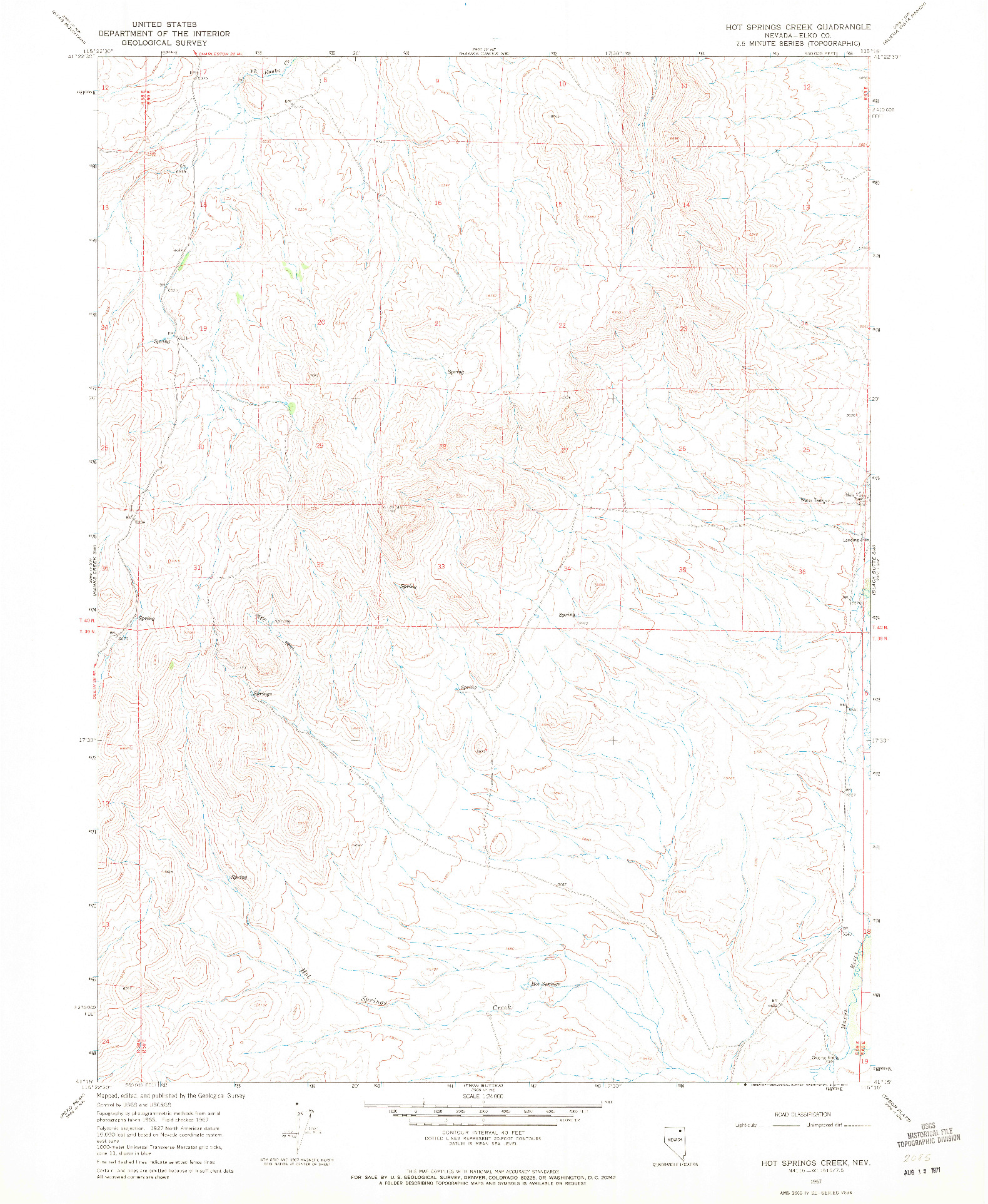 USGS 1:24000-SCALE QUADRANGLE FOR HOT SPRINGS CREEK, NV 1967