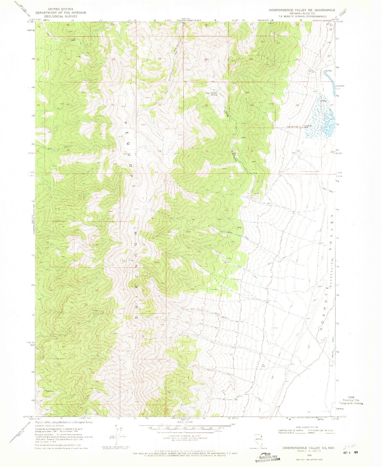 USGS 1:24000-SCALE QUADRANGLE FOR INDEPENDENCE VALLEY NE, NV 1968