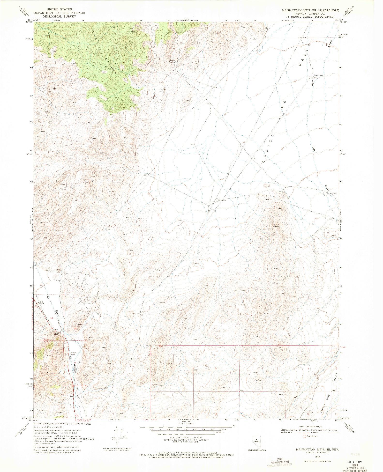USGS 1:24000-SCALE QUADRANGLE FOR MANHATTAN MTN NE, NV 1969