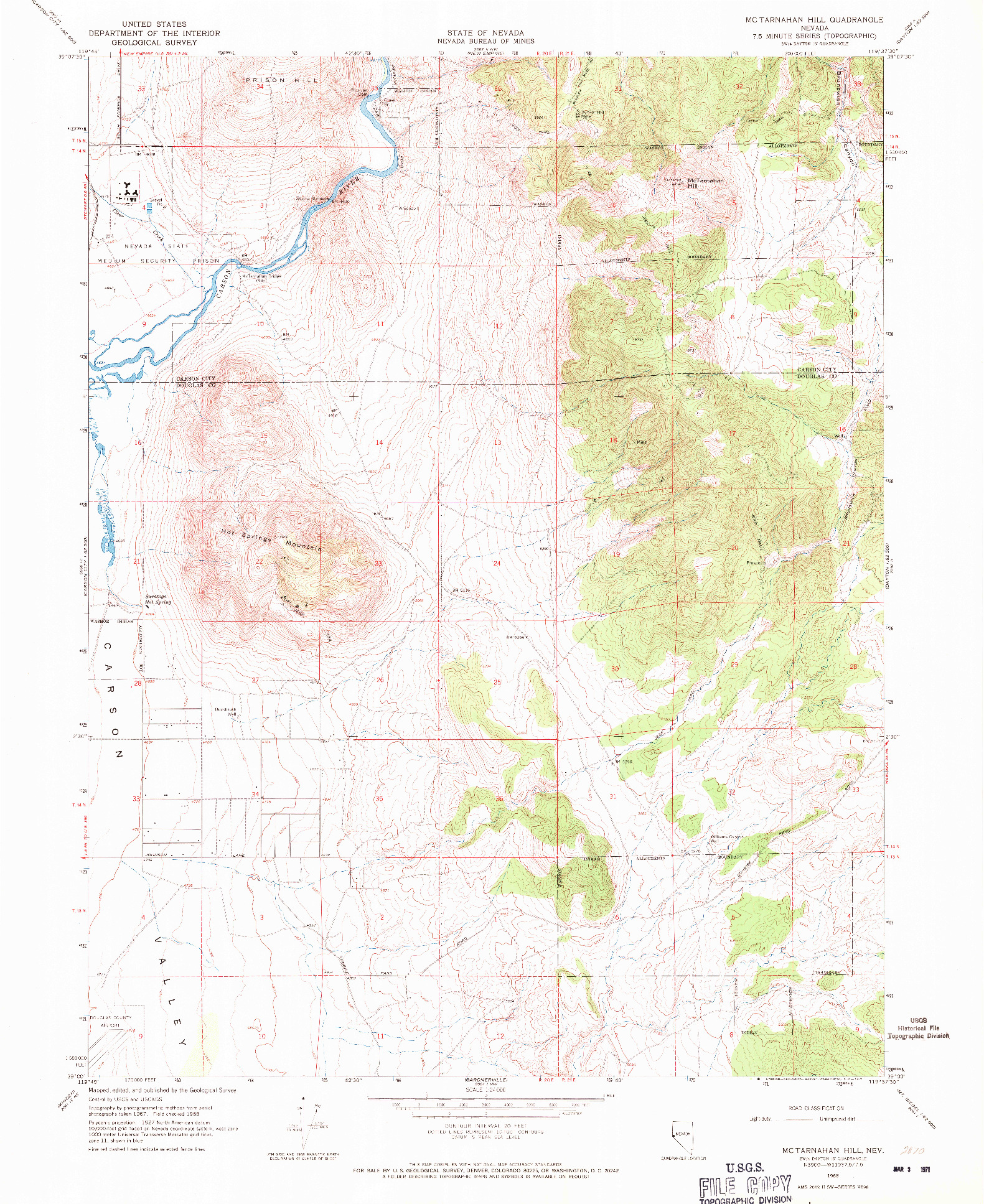 USGS 1:24000-SCALE QUADRANGLE FOR MCTARNAHAN HILL, NV 1968