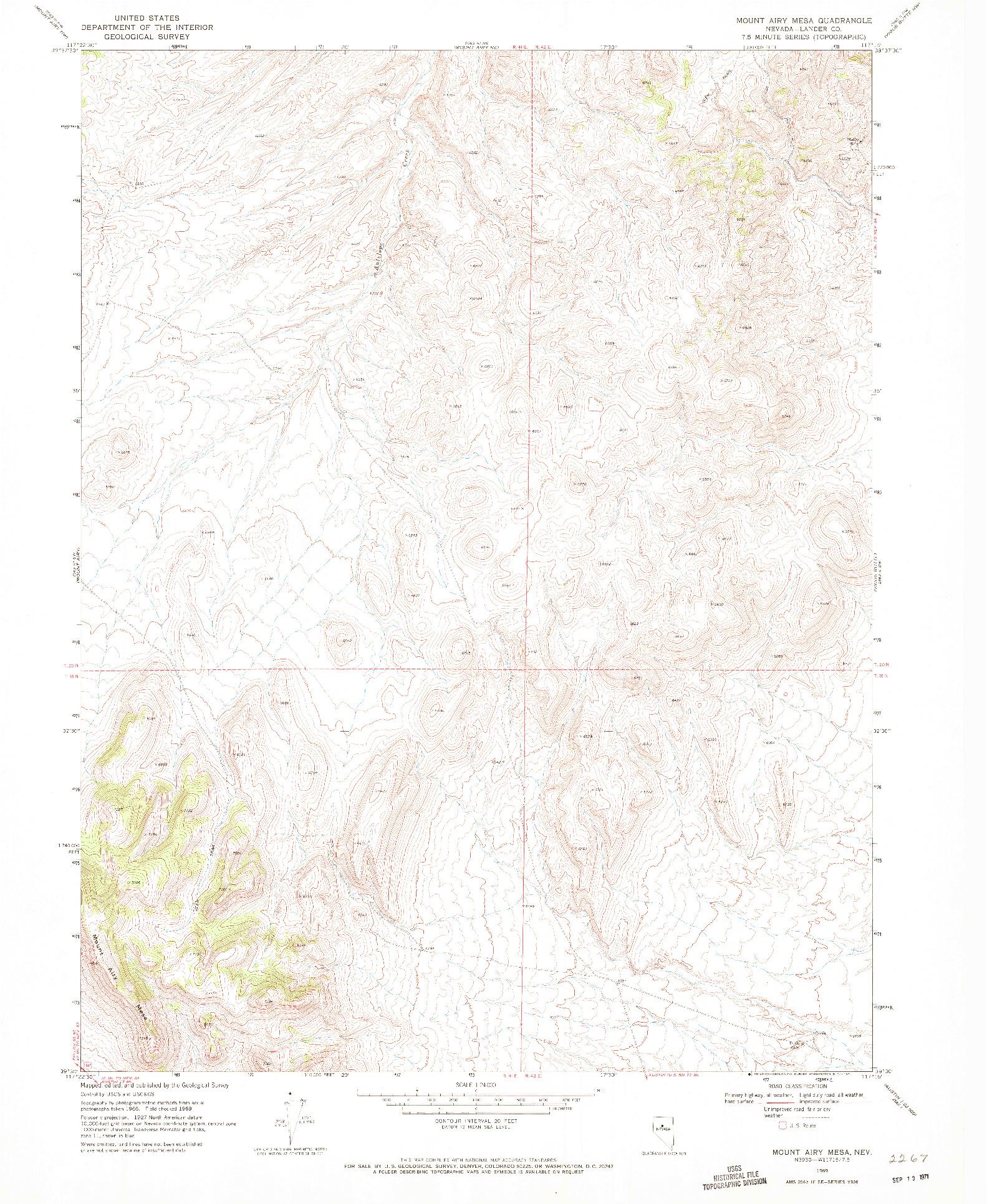 USGS 1:24000-SCALE QUADRANGLE FOR MOUNT AIRY MESA, NV 1969