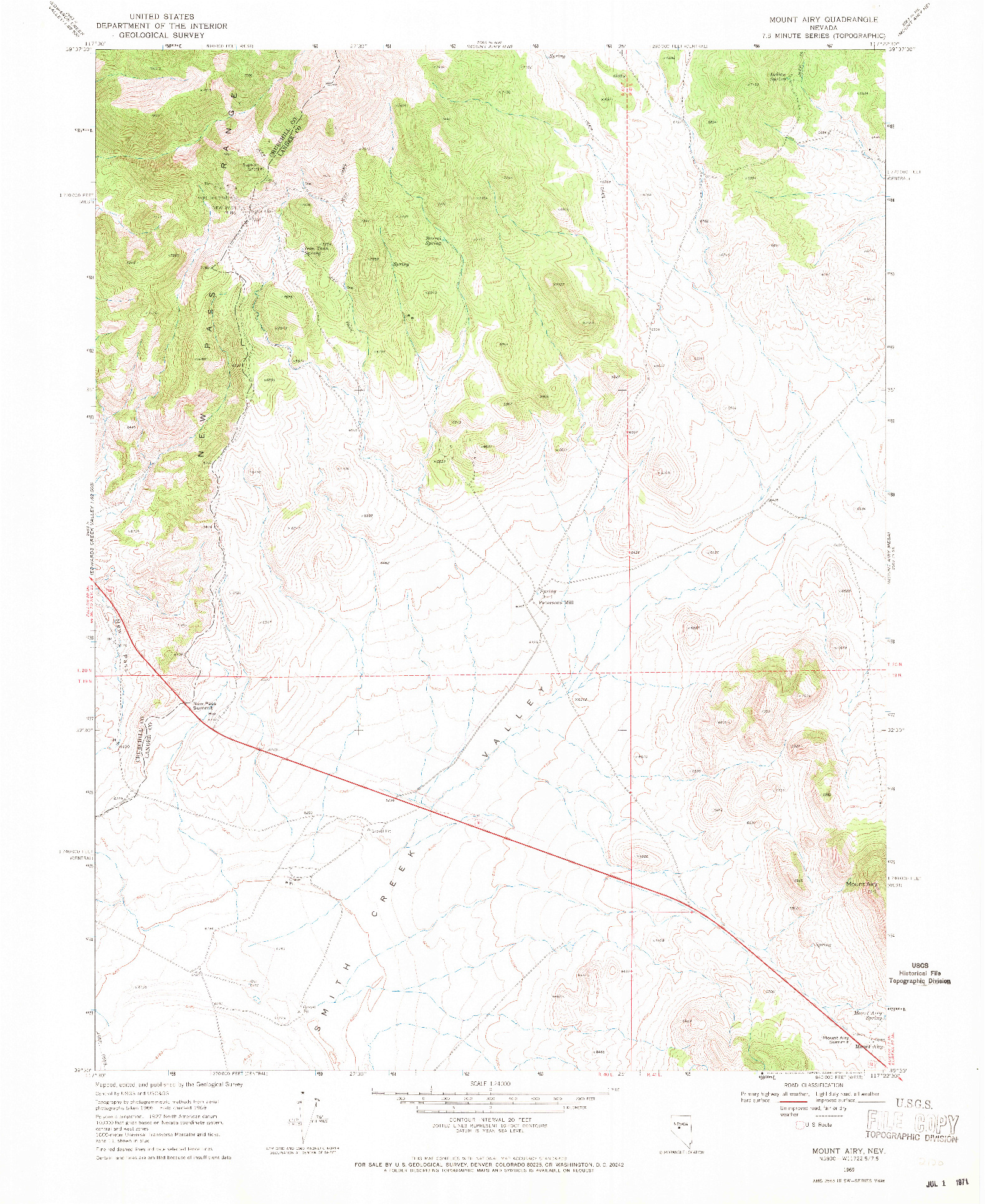 USGS 1:24000-SCALE QUADRANGLE FOR MOUNT AIRY, NV 1969