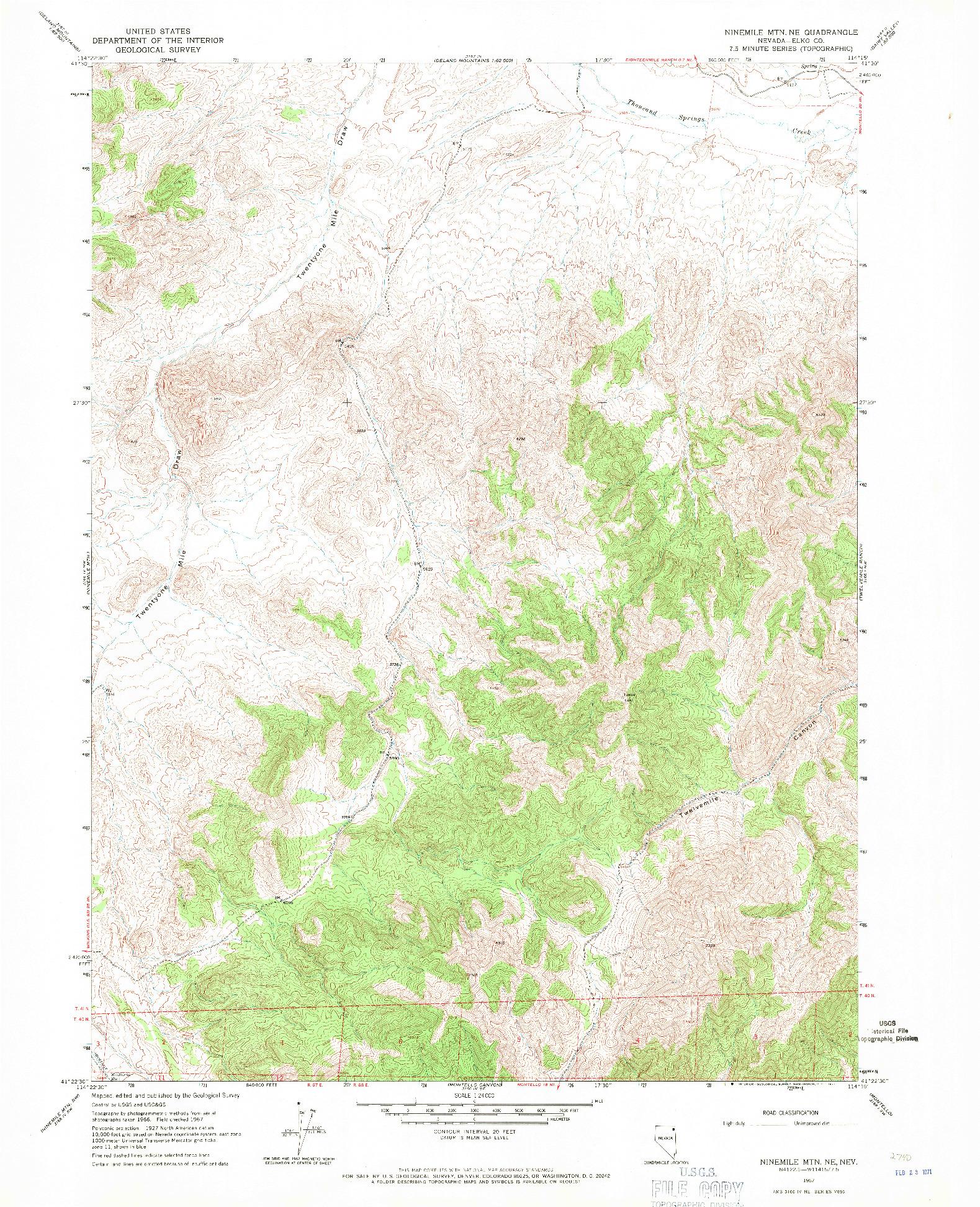 USGS 1:24000-SCALE QUADRANGLE FOR NINEMILE MTN NE, NV 1967
