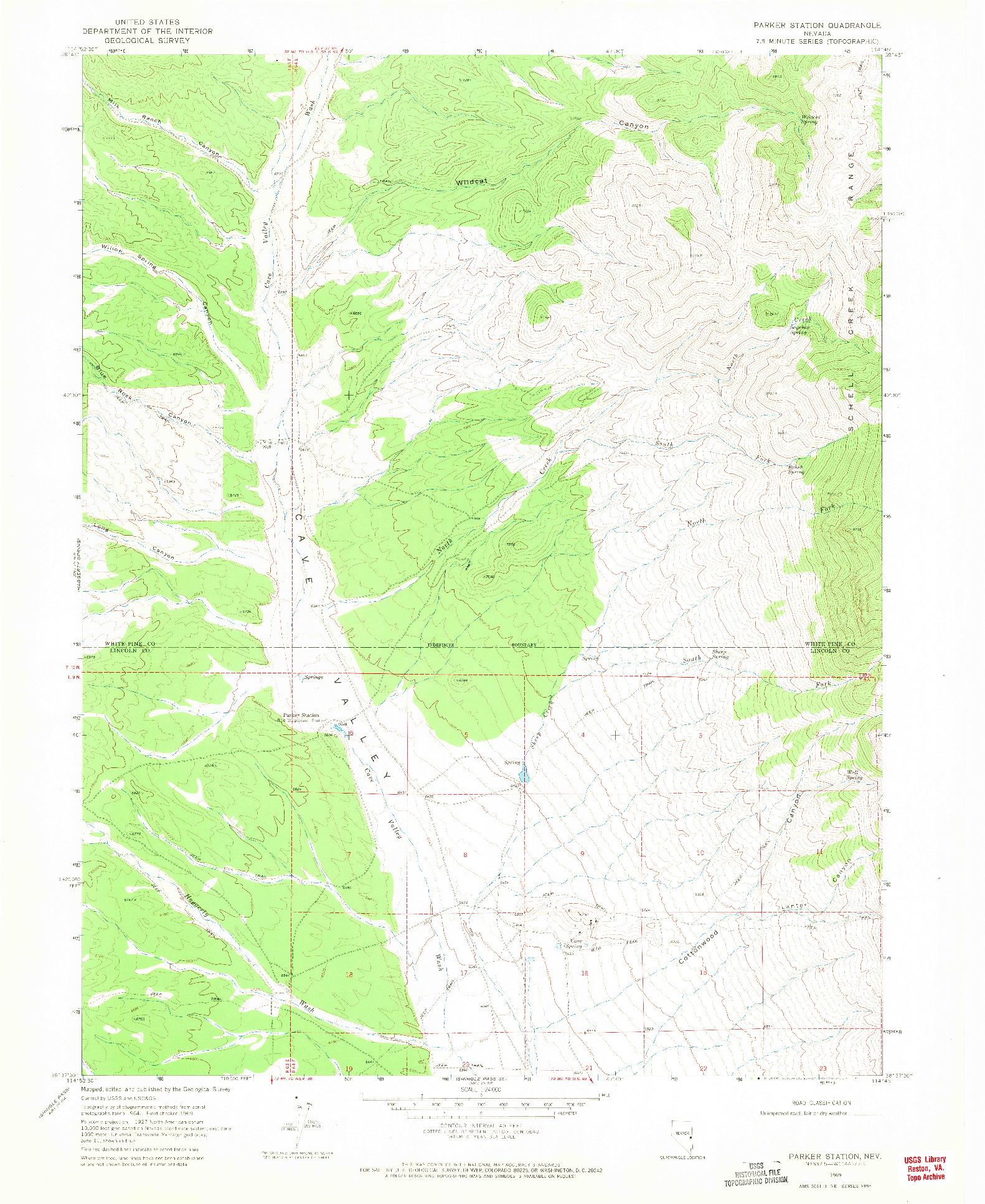 USGS 1:24000-SCALE QUADRANGLE FOR PARKER STATION, NV 1969