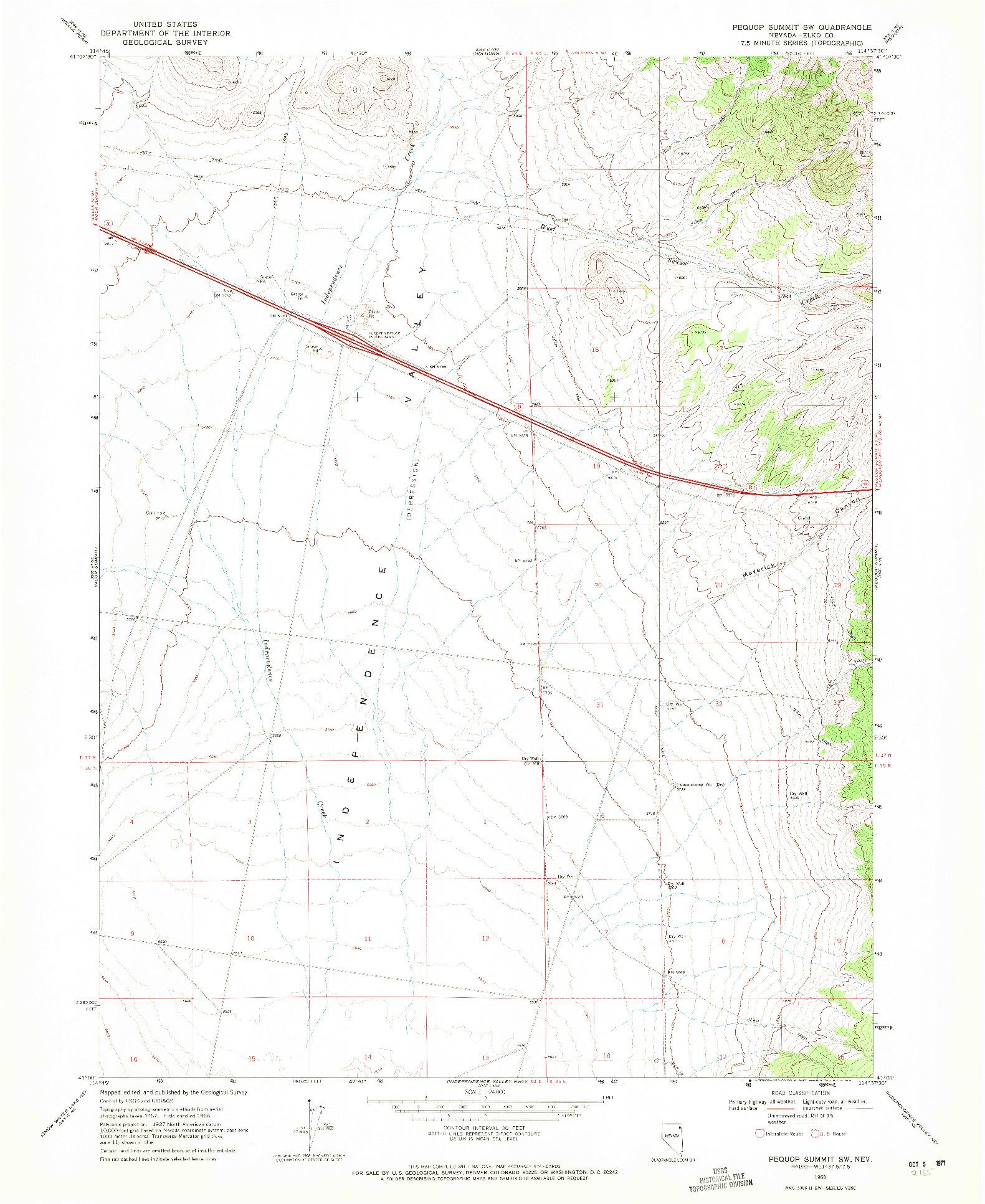 USGS 1:24000-SCALE QUADRANGLE FOR PEQUOP SUMMIT SW, NV 1968