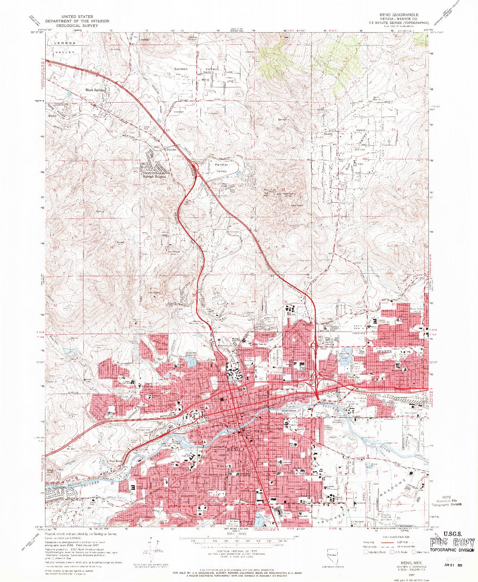 USGS 1:24000-SCALE QUADRANGLE FOR RENO, NV 1967