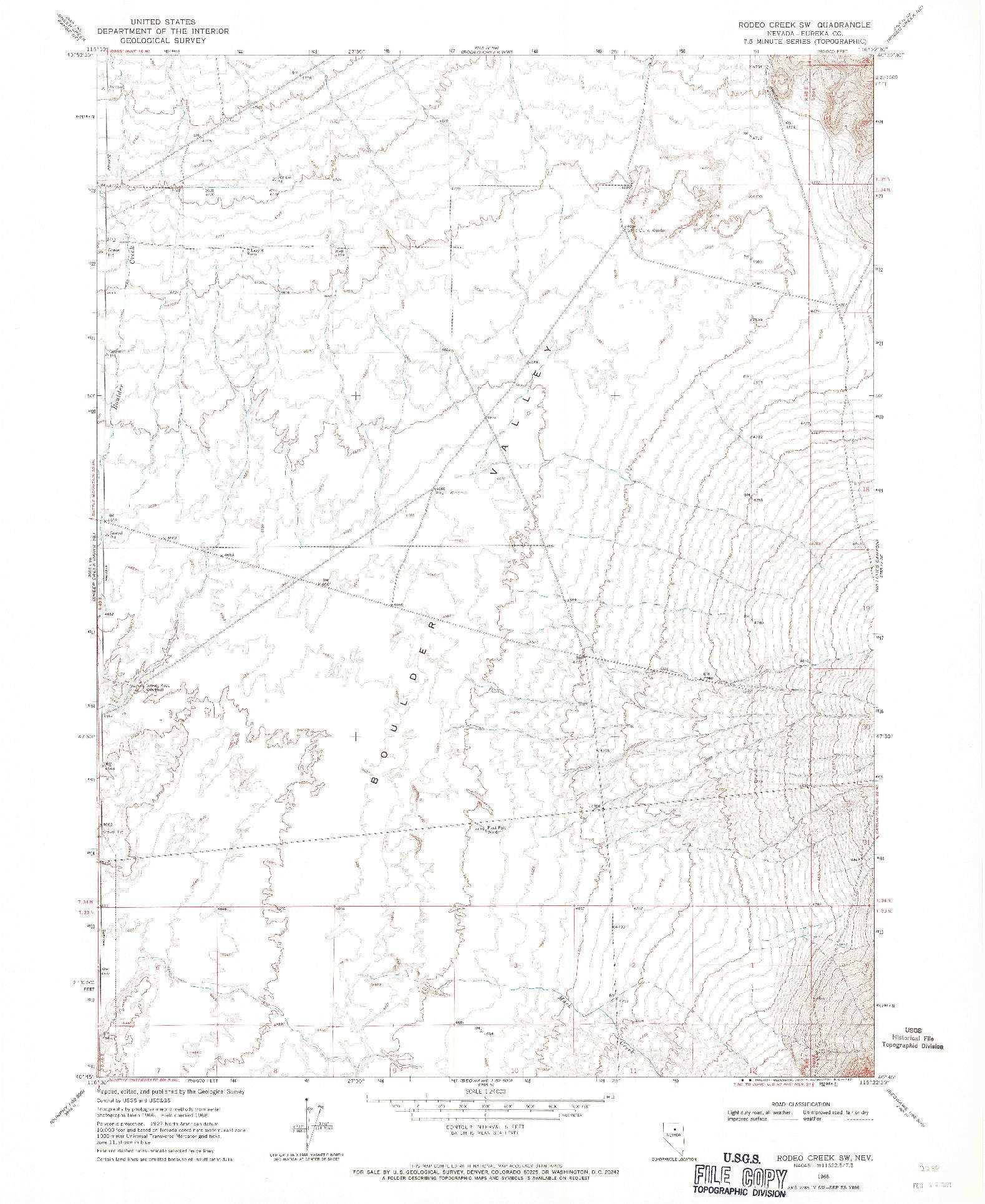 USGS 1:24000-SCALE QUADRANGLE FOR RODEO CREEK SW, NV 1968