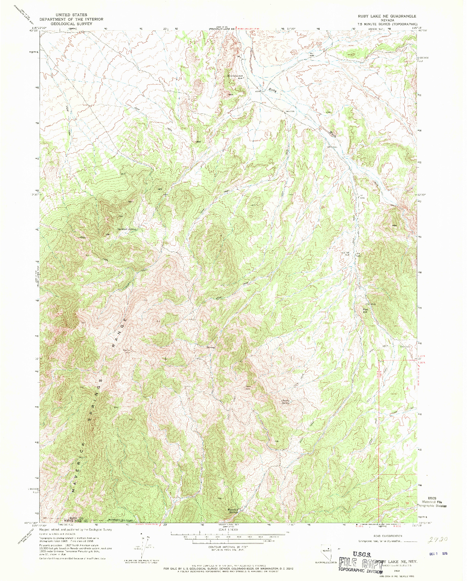 USGS 1:24000-SCALE QUADRANGLE FOR RUBY LAKE NE, NV 1968