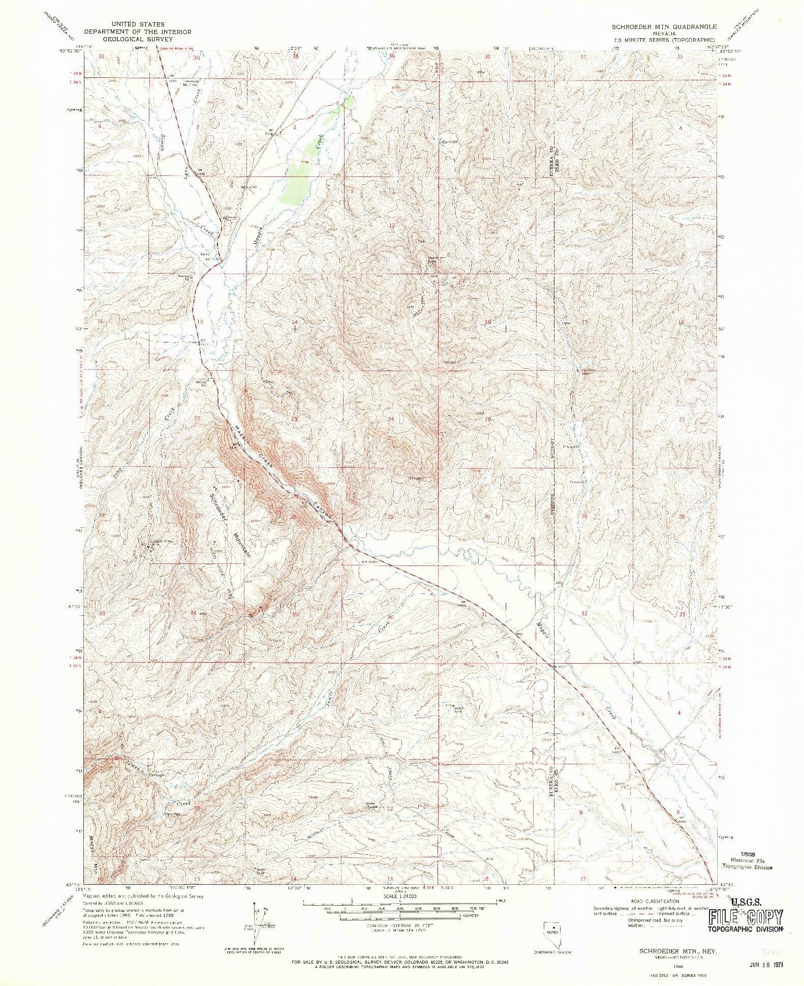 USGS 1:24000-SCALE QUADRANGLE FOR SCHROEDER MTN, NV 1968